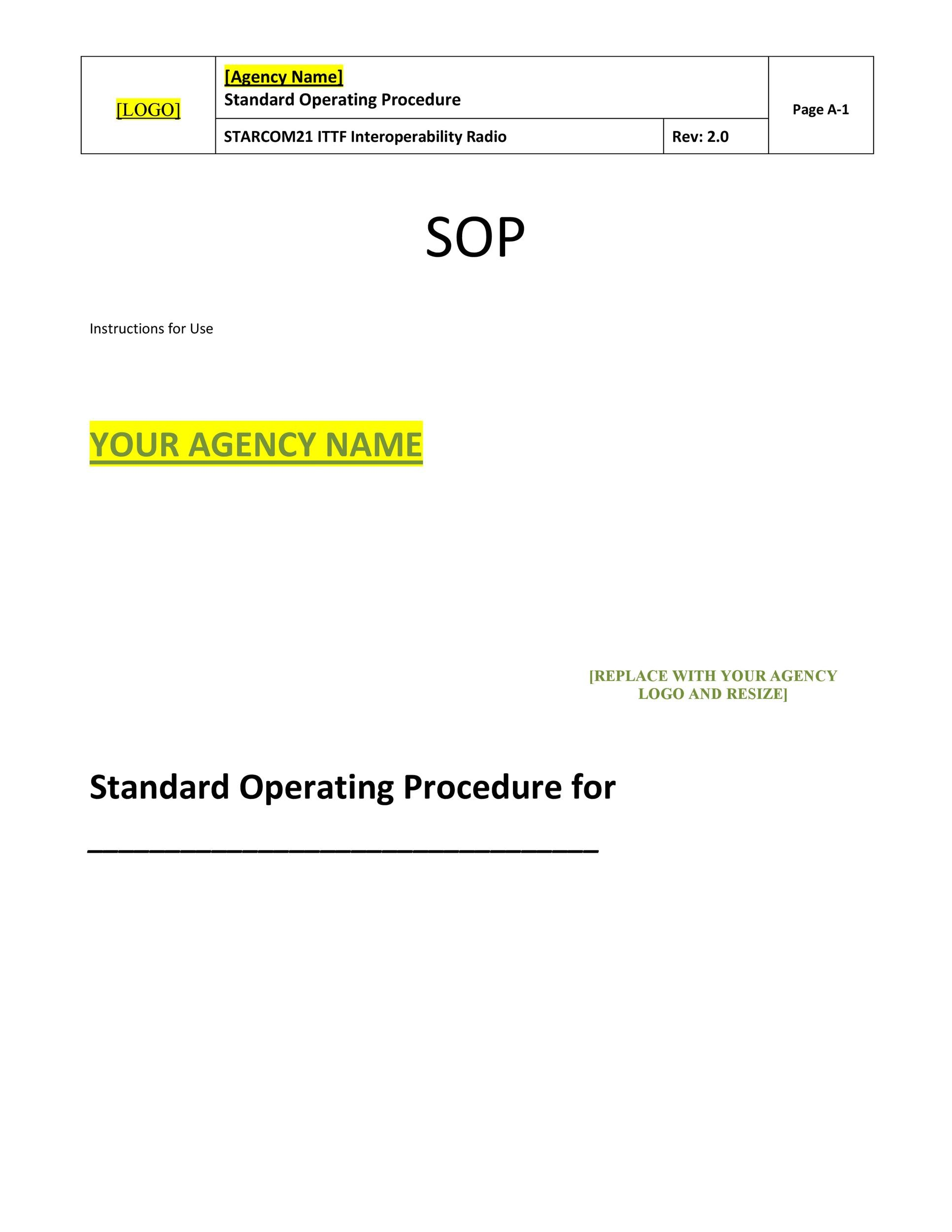 standard operating procedure template excel