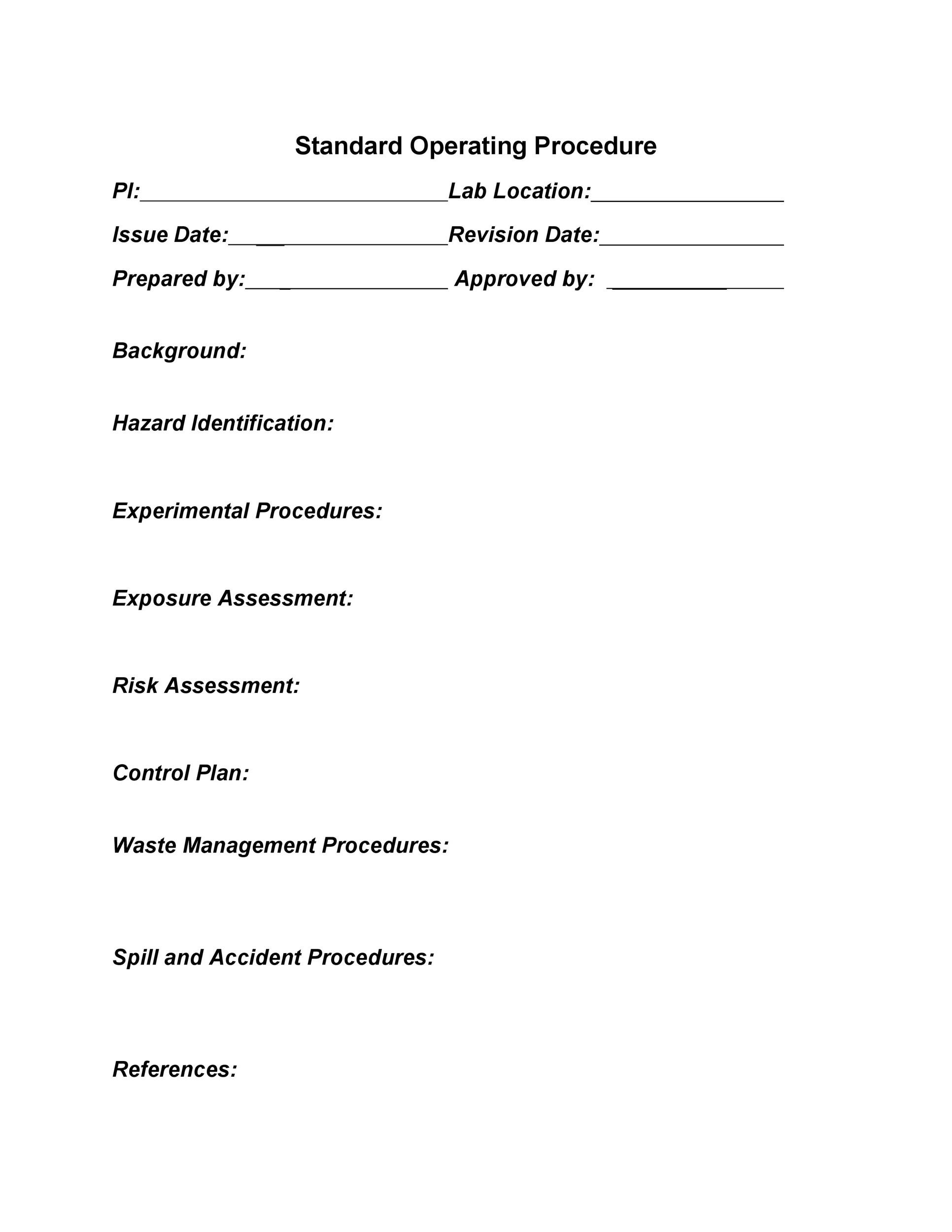 Printable SOP Templates 23  Procedure Templates