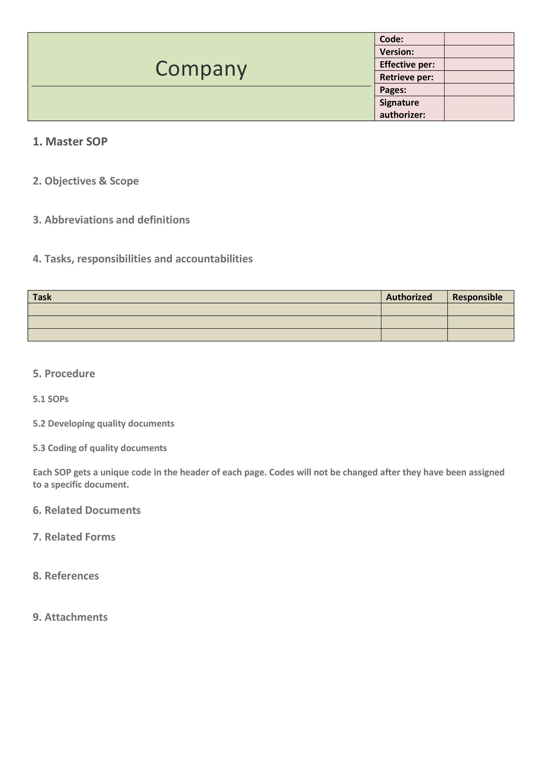 Printable SOP Templates 24  Procedure Templates