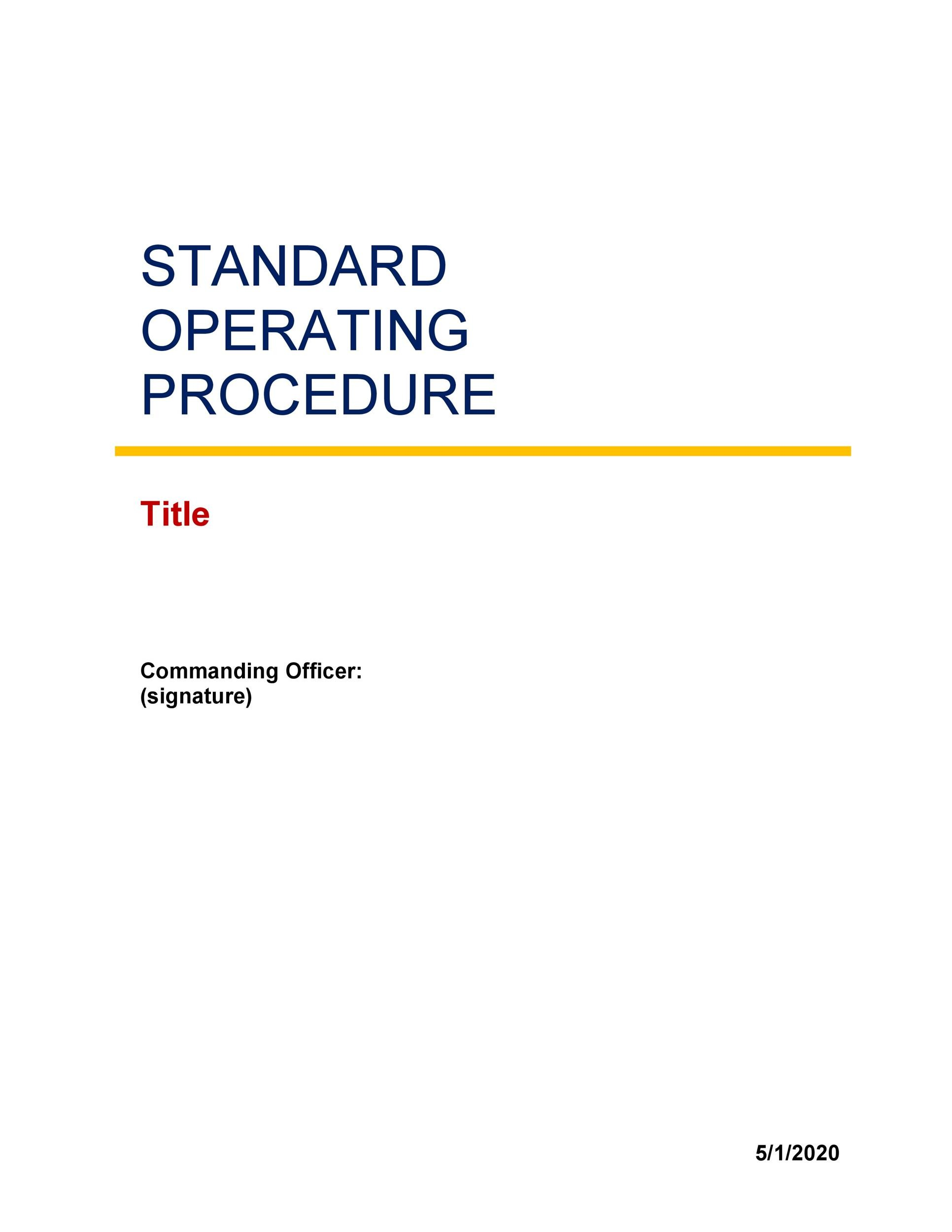 Standard Operating Procedure Templates