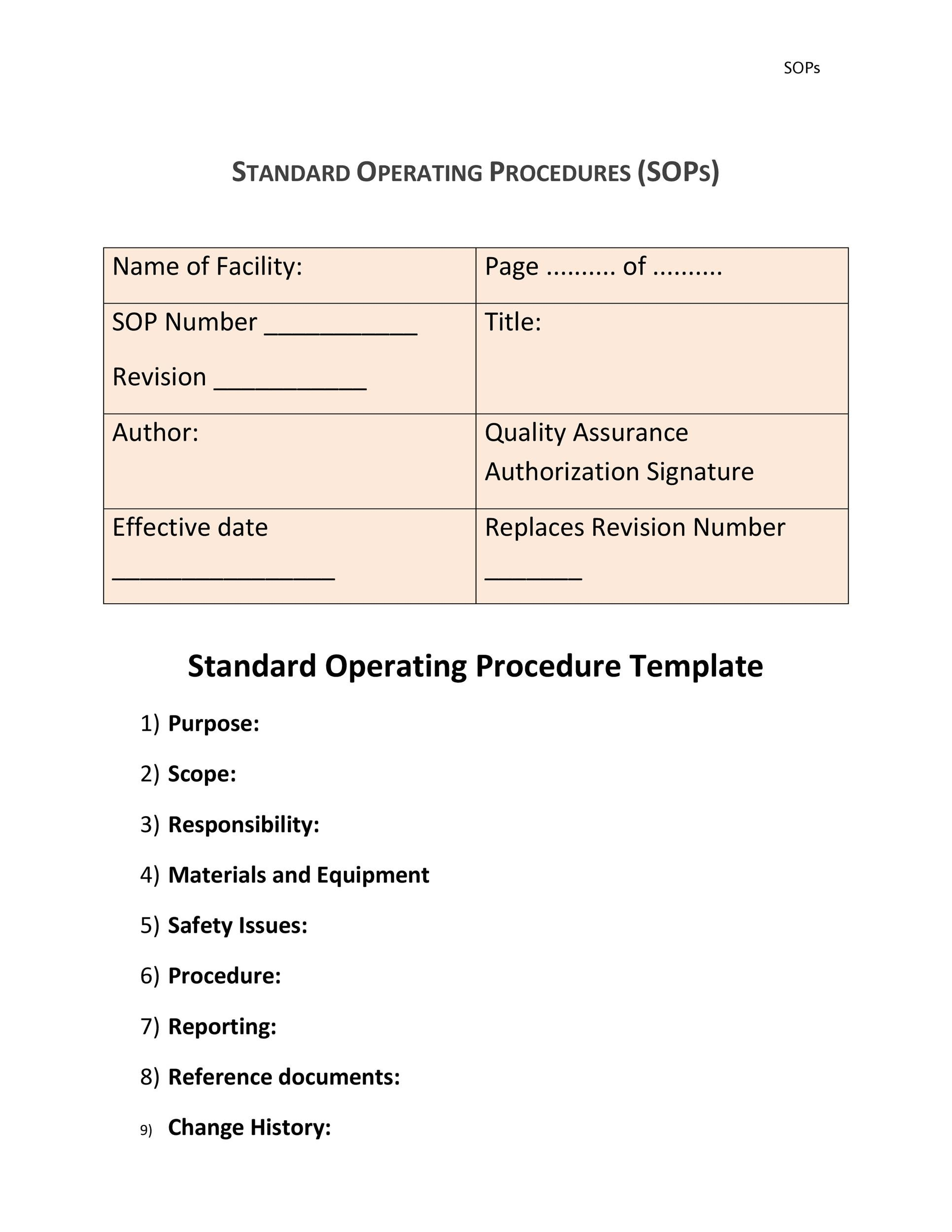 Perfect Printable SOP Templates 29 With Free Standard Operating Procedure Template Word