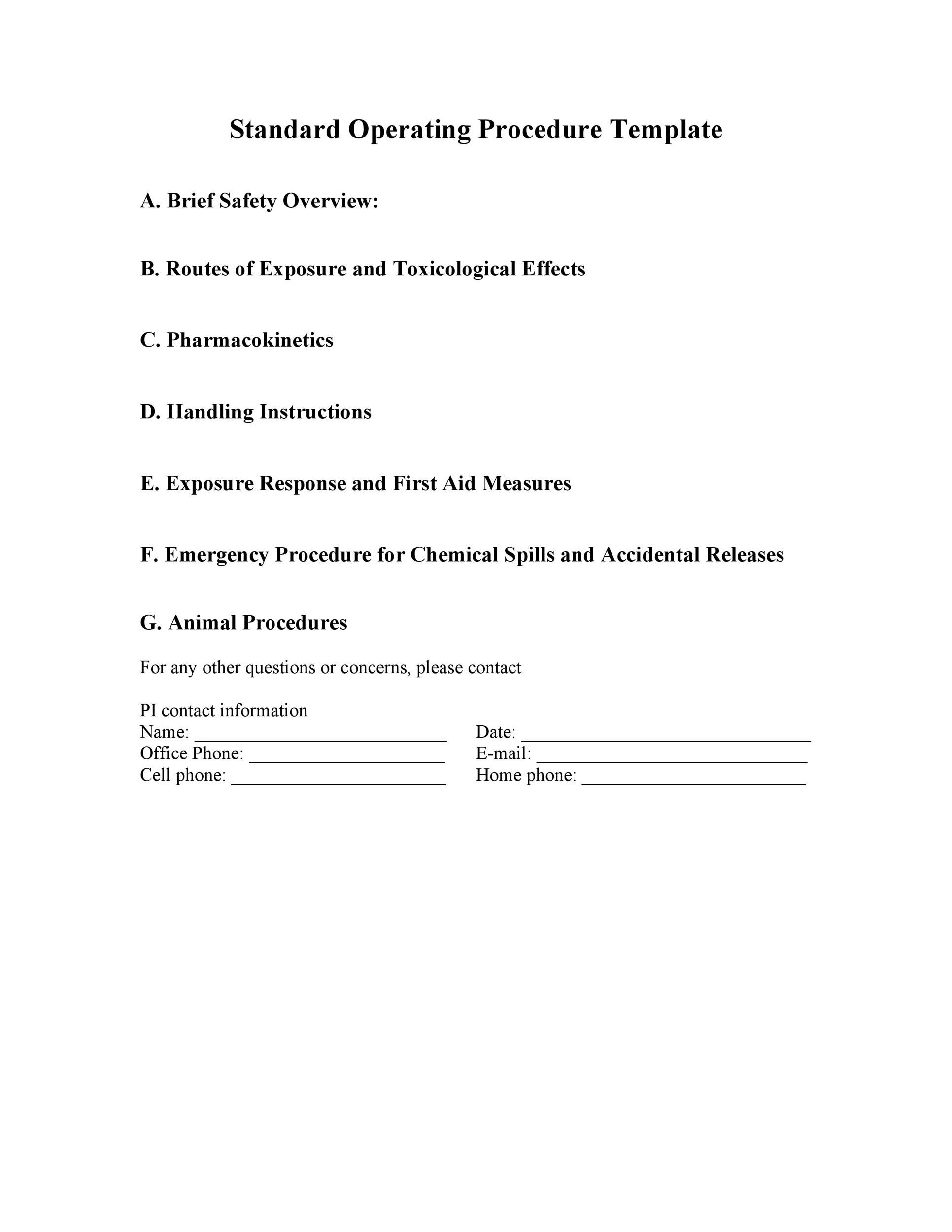Printable SOP Templates 30  Procedure Templates