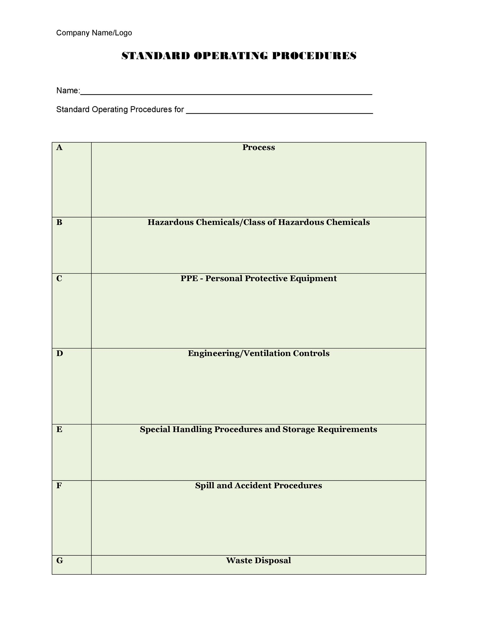 37 Best Standard Operating Procedure Sop Templates