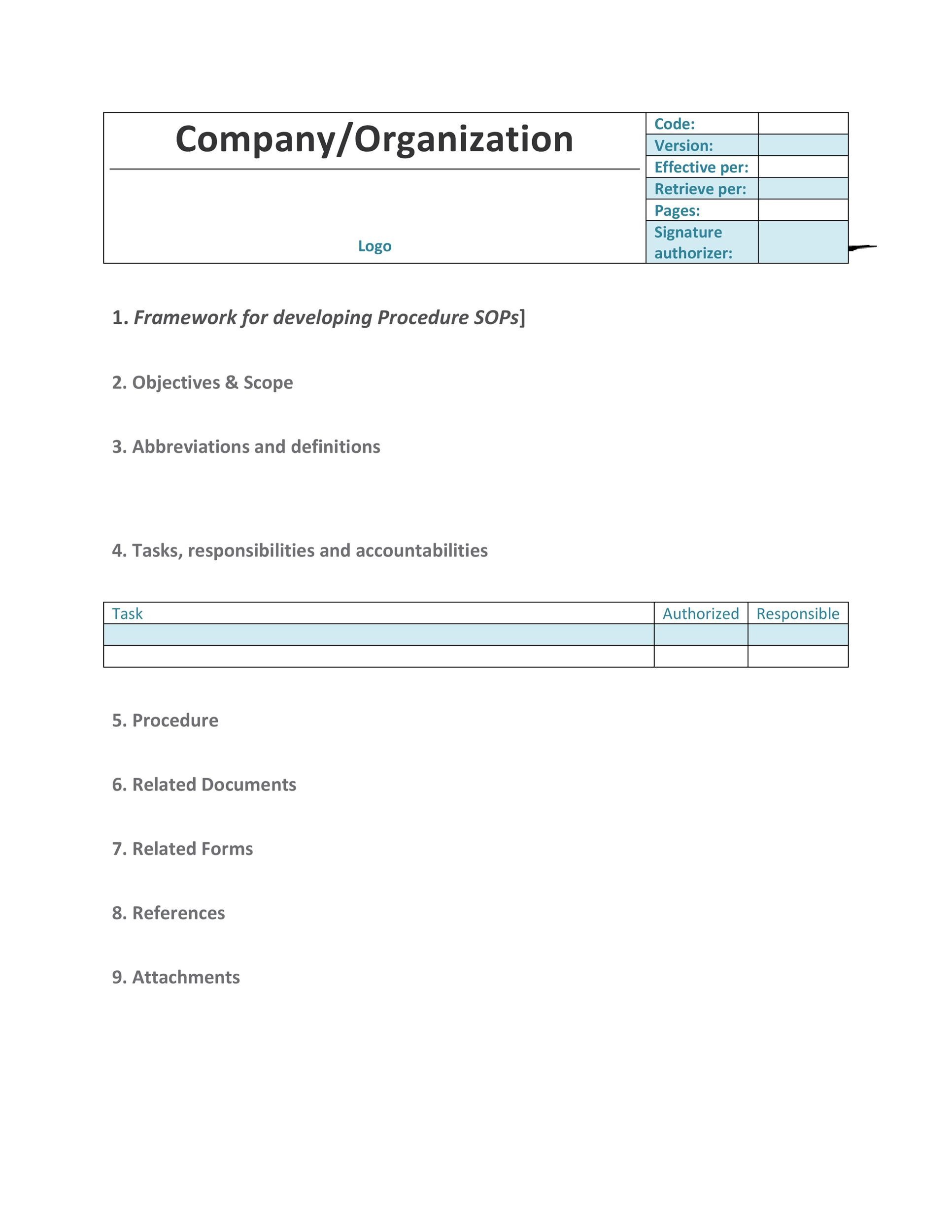 Printable SOP Templates 33  Procedure Manual Template Word
