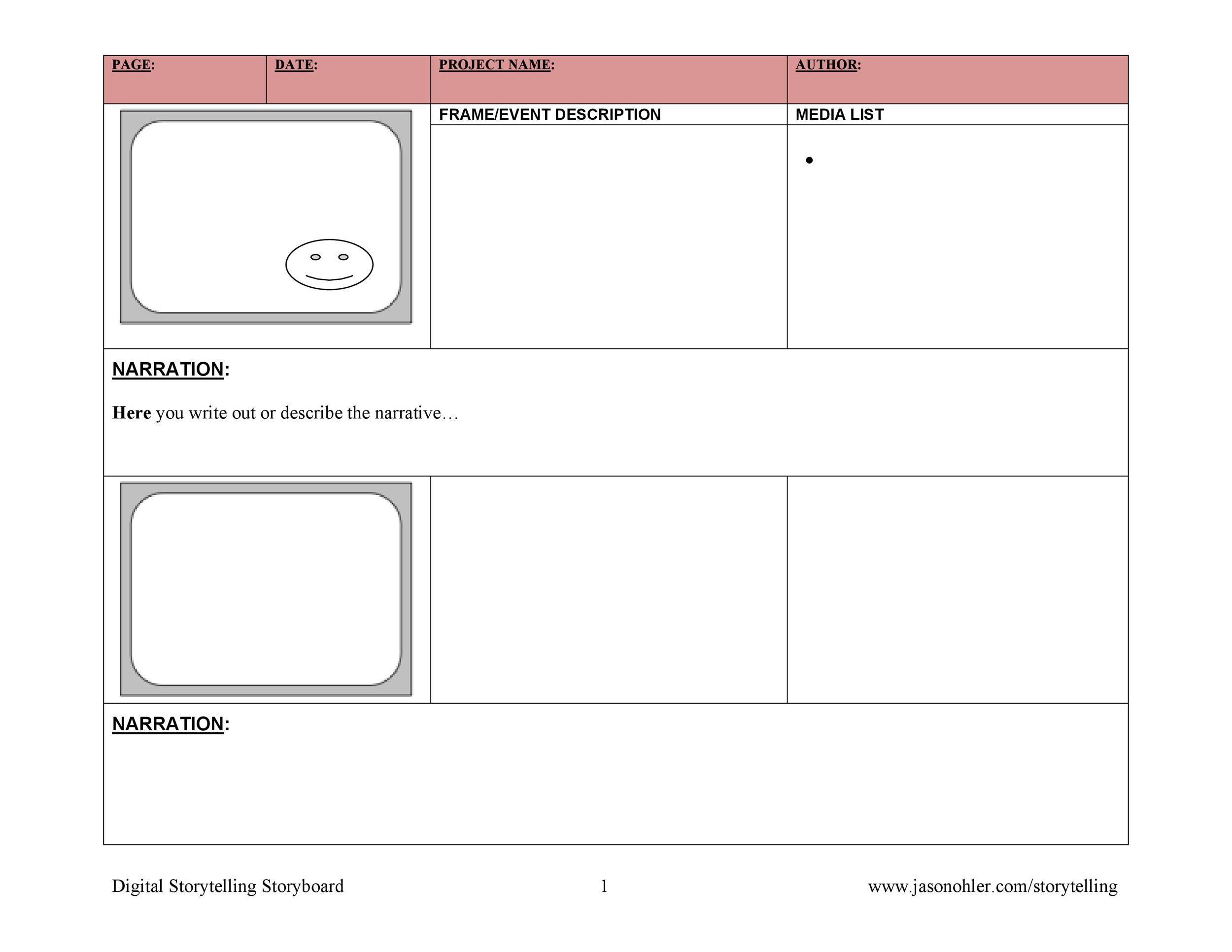 Media Storyboard Template Free Simple Storyboard Template For