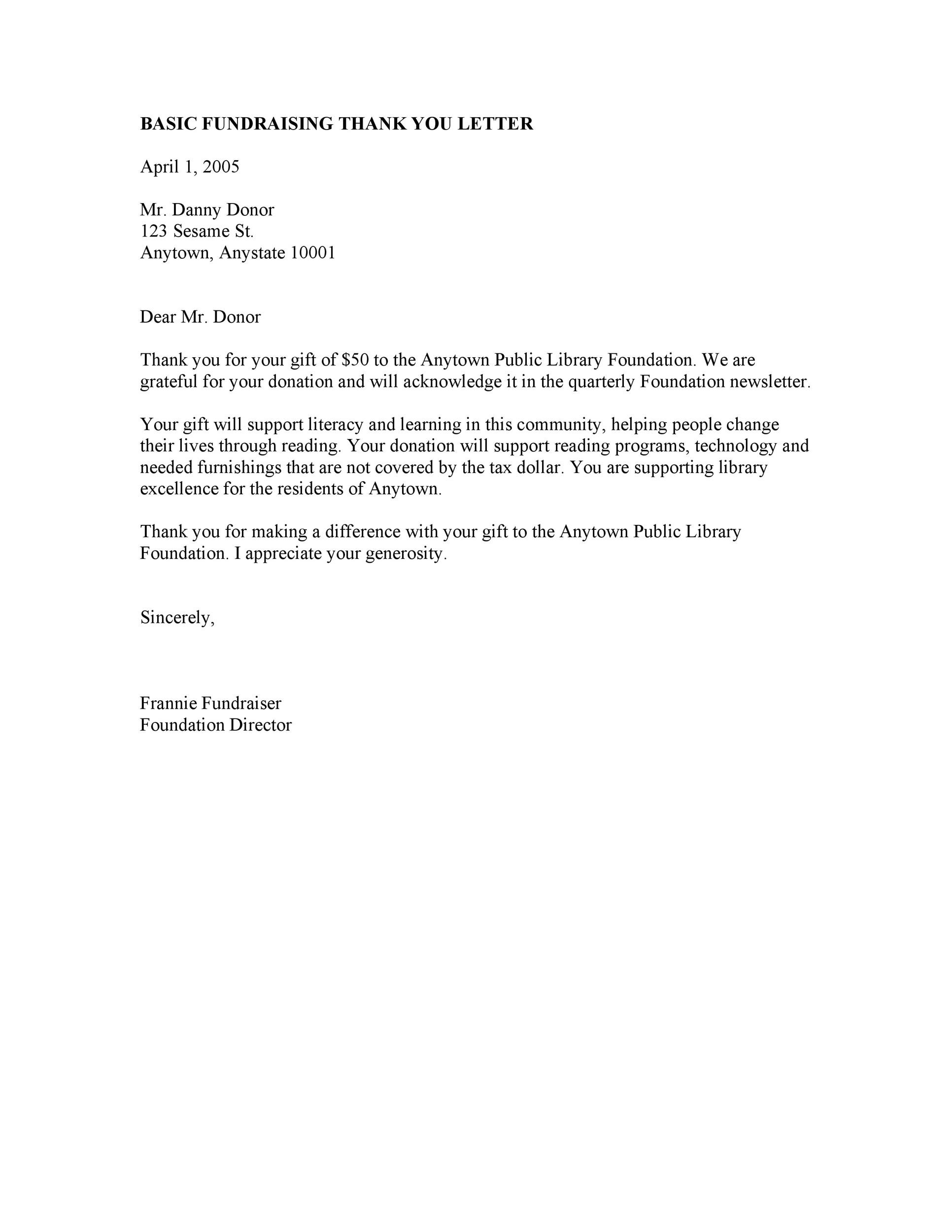 Thank You Letter For Scholarship | Thank You Letter Template Donation Template Office Procedure
