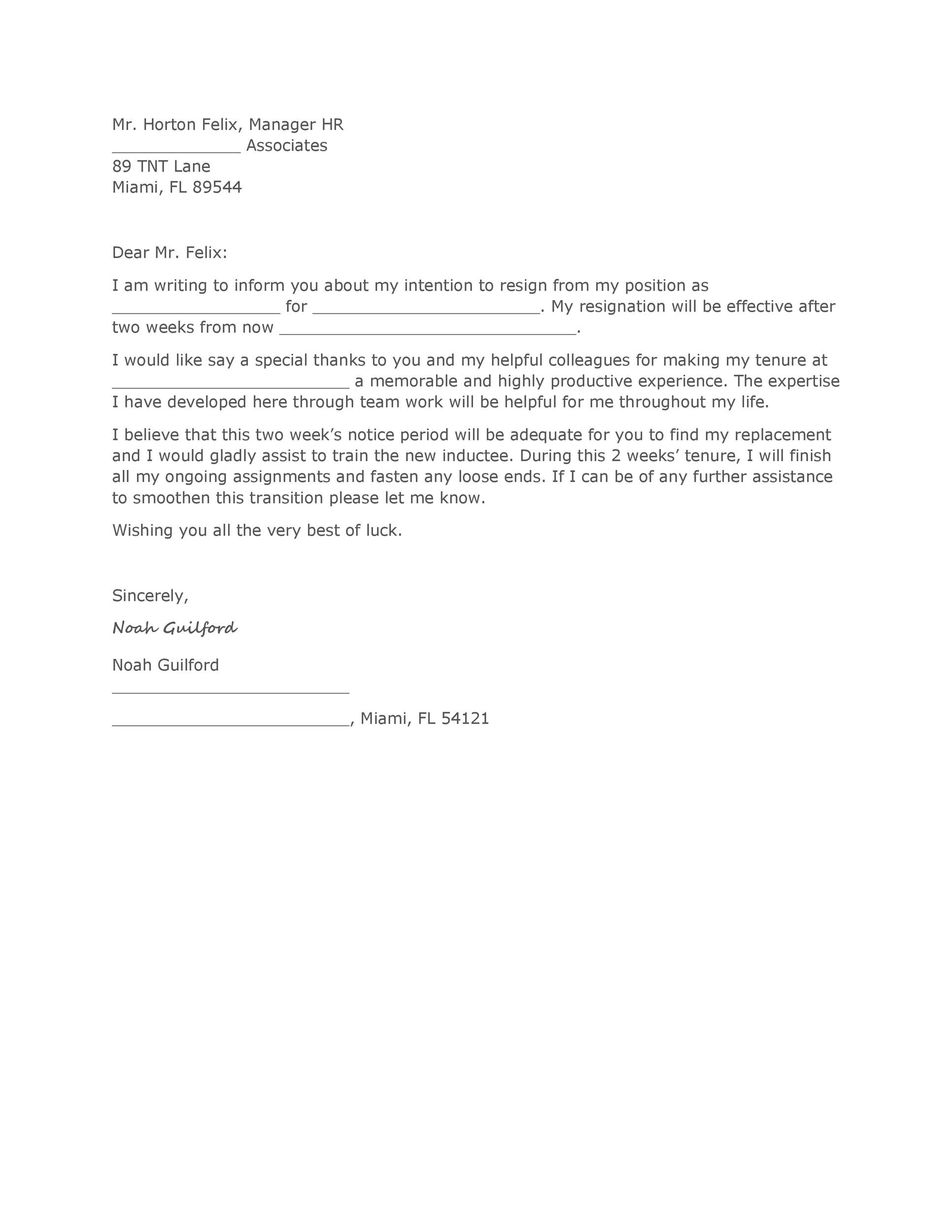 Printable Two Weeks Notice 06  Resignation Letter Sample 2 Weeks Notice