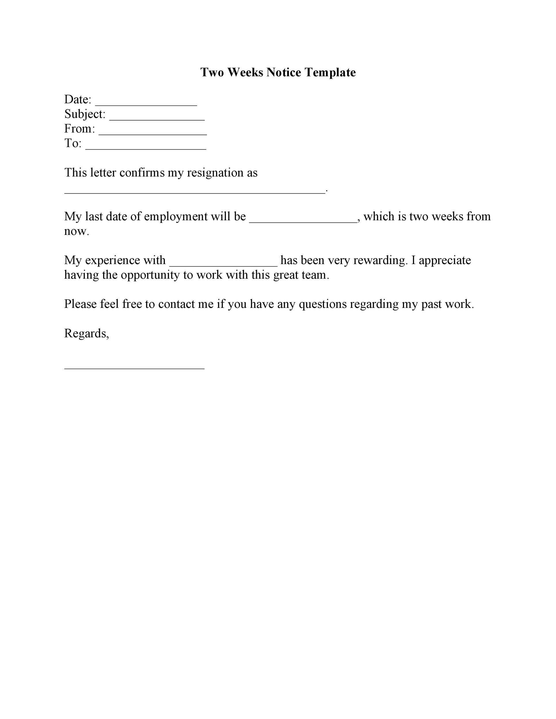 Printable Two Weeks Notice 07  2 Weeks Notice Template