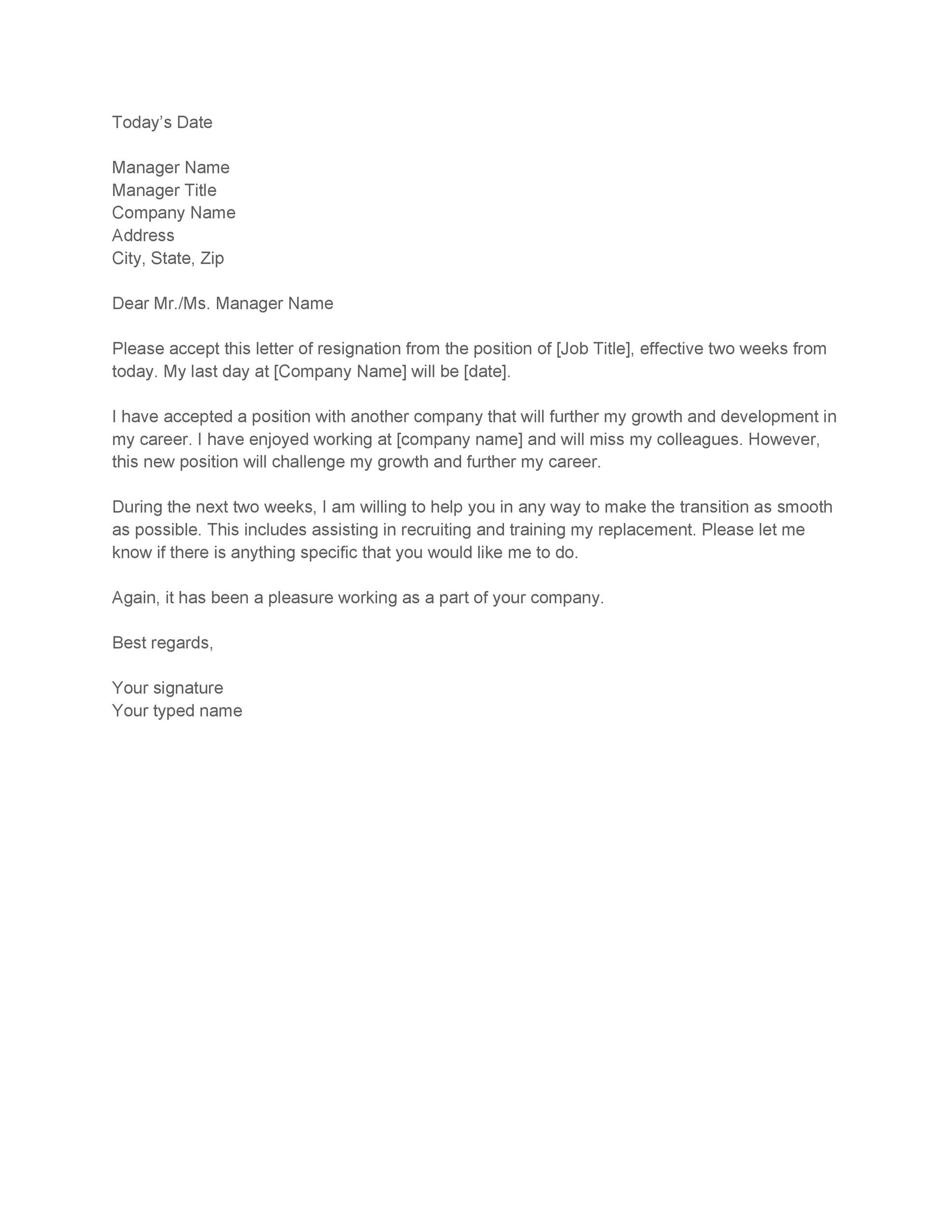 Superb Printable Two Weeks Notice 09 Ideas Two Week Notice Letter