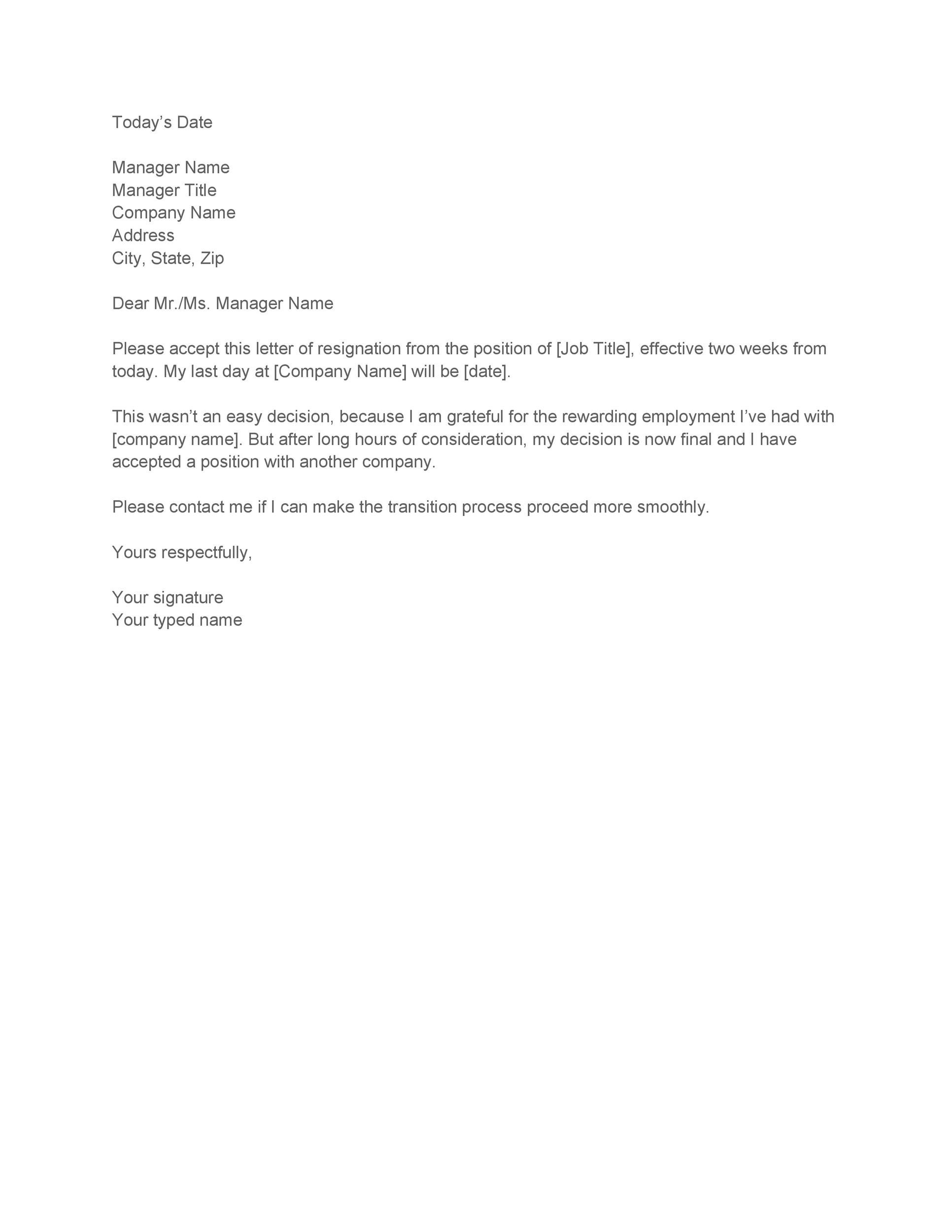 40 two weeks notice letters resignation letter templates .
