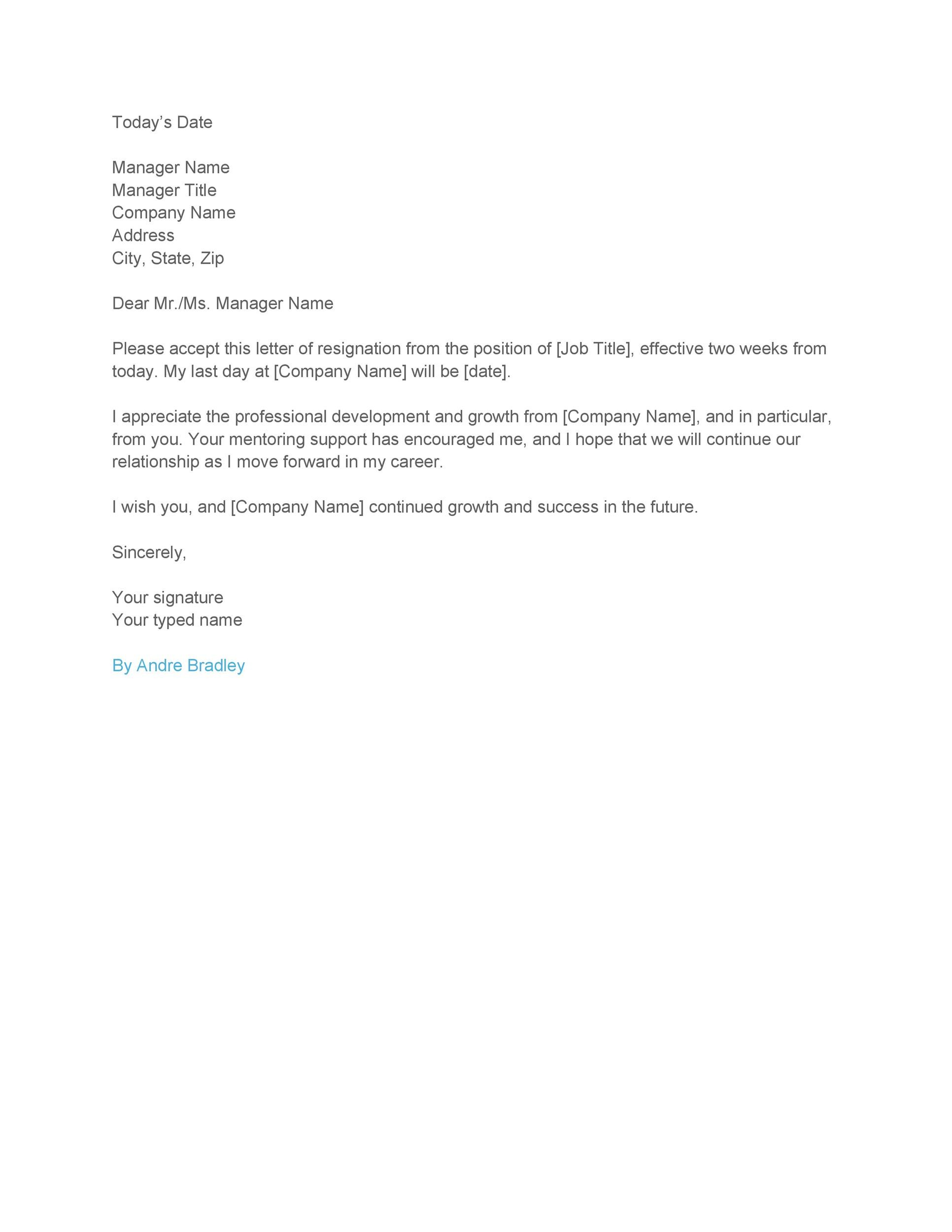 40 Two Weeks Notice Letters Resignation Letter Templates – Letter of Notice