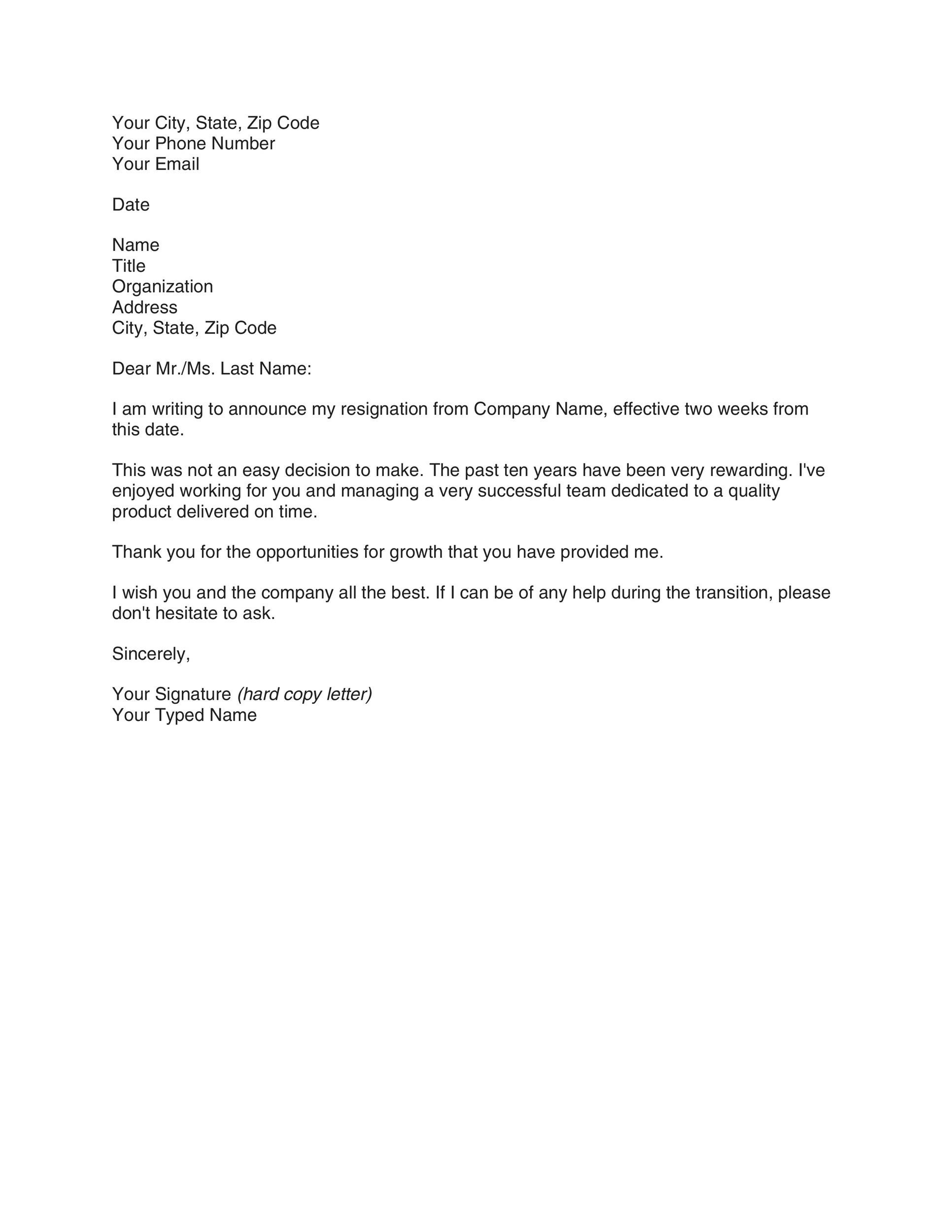 Printable Two Weeks Notice 13  2 Weeks Notice Letter Format