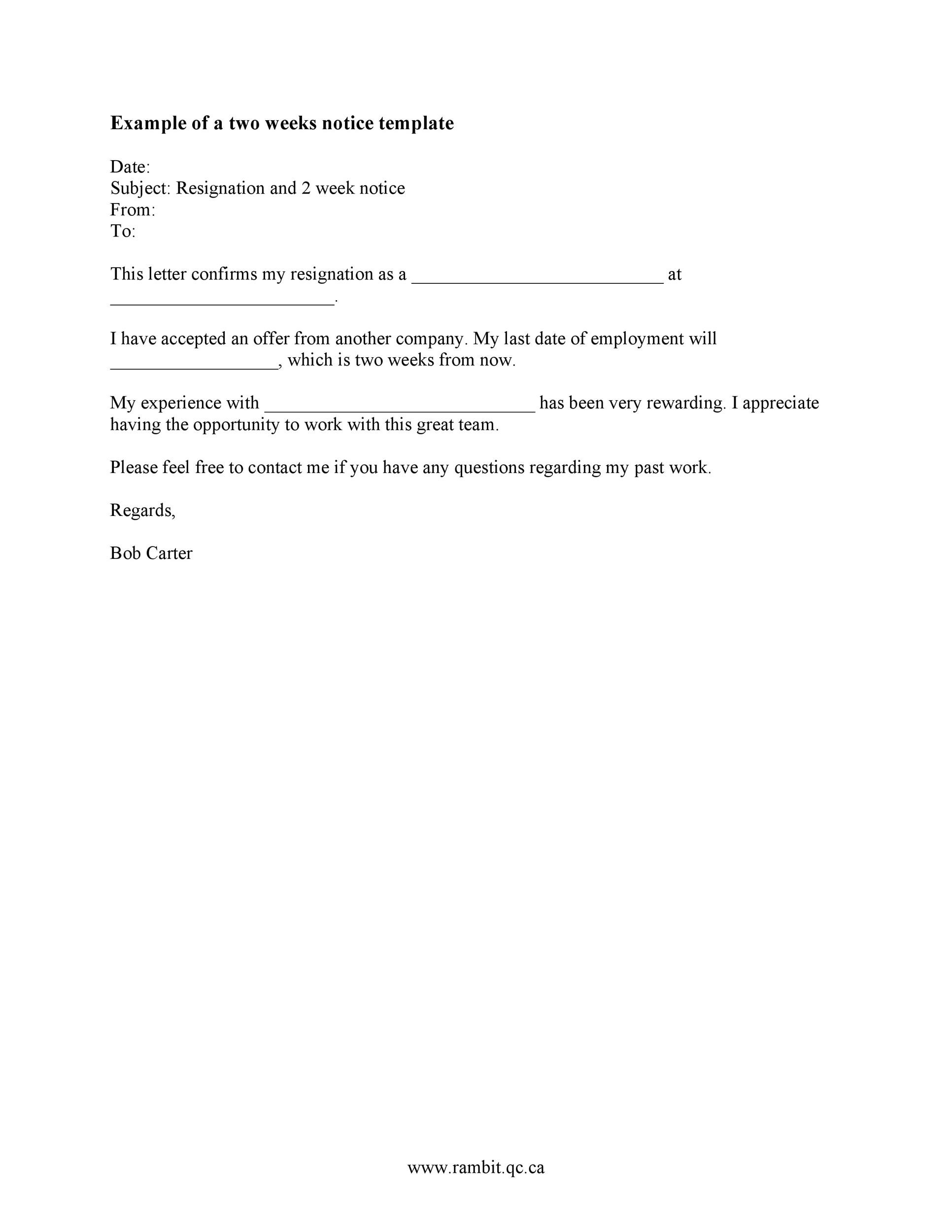 Printable Two Weeks Notice 17  Two Week Notice Letter