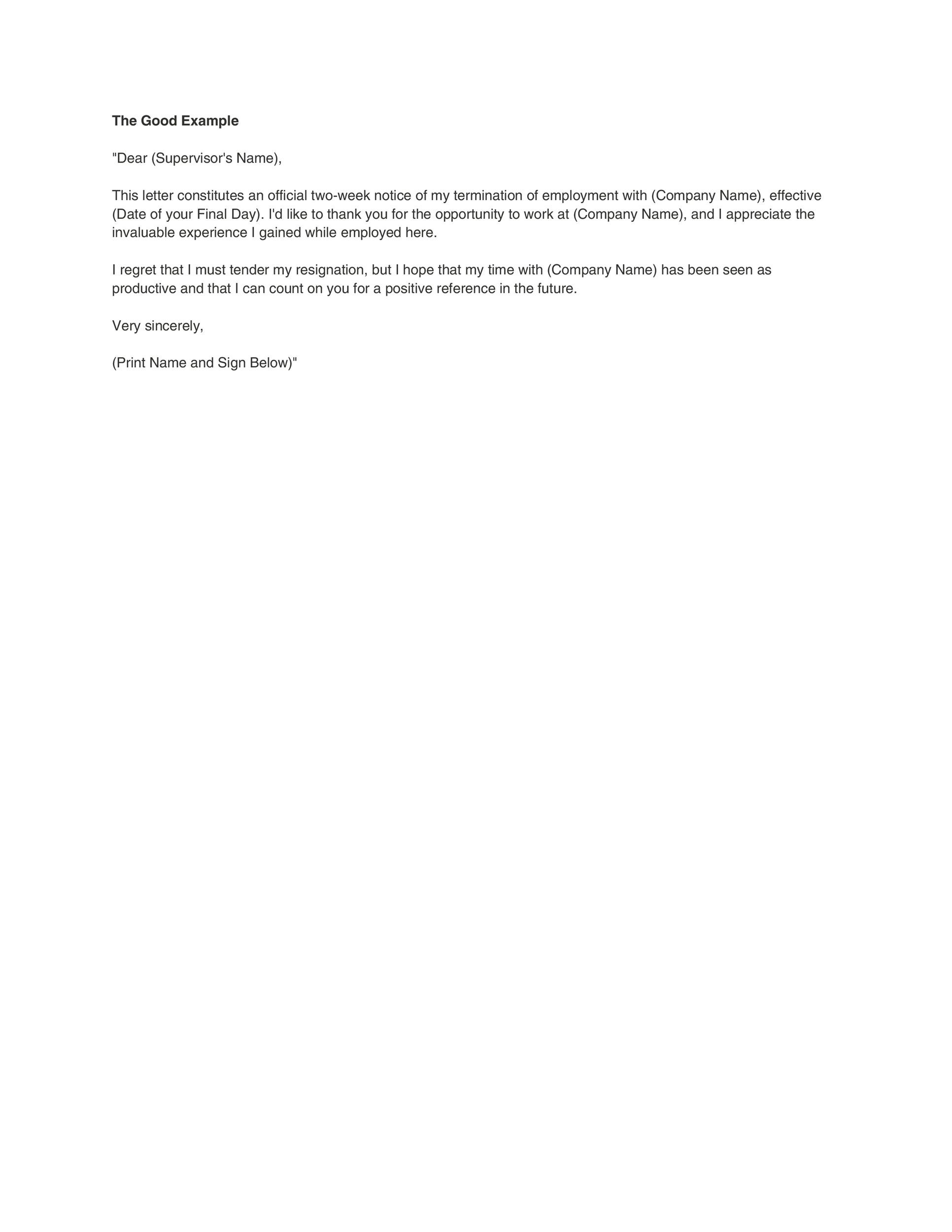 40 Two Weeks Notice Letters Resignation Letter Templates – Sample Letter of Resignation Template