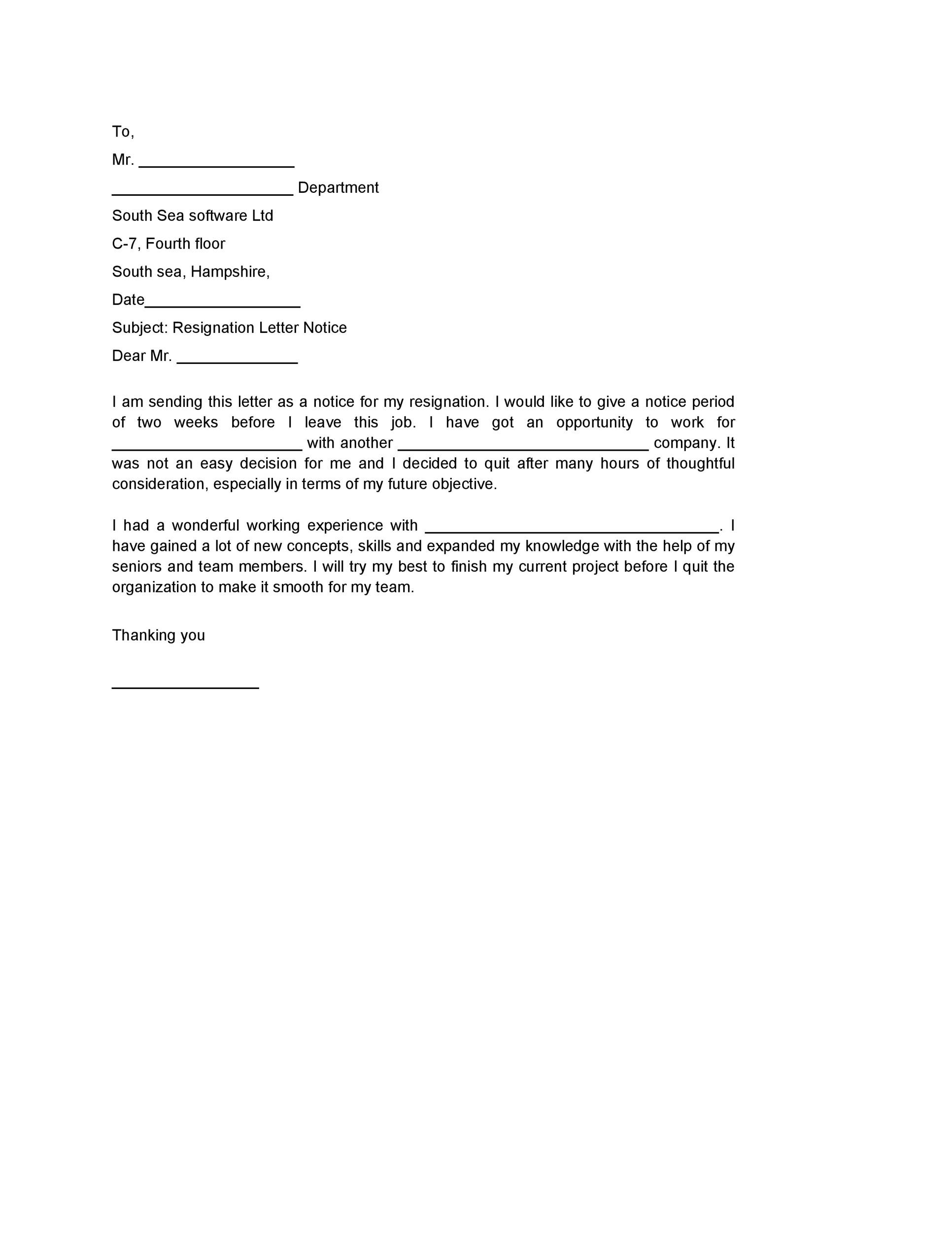 Printable Two Weeks Notice 32  2 Weeks Notice Letter Format