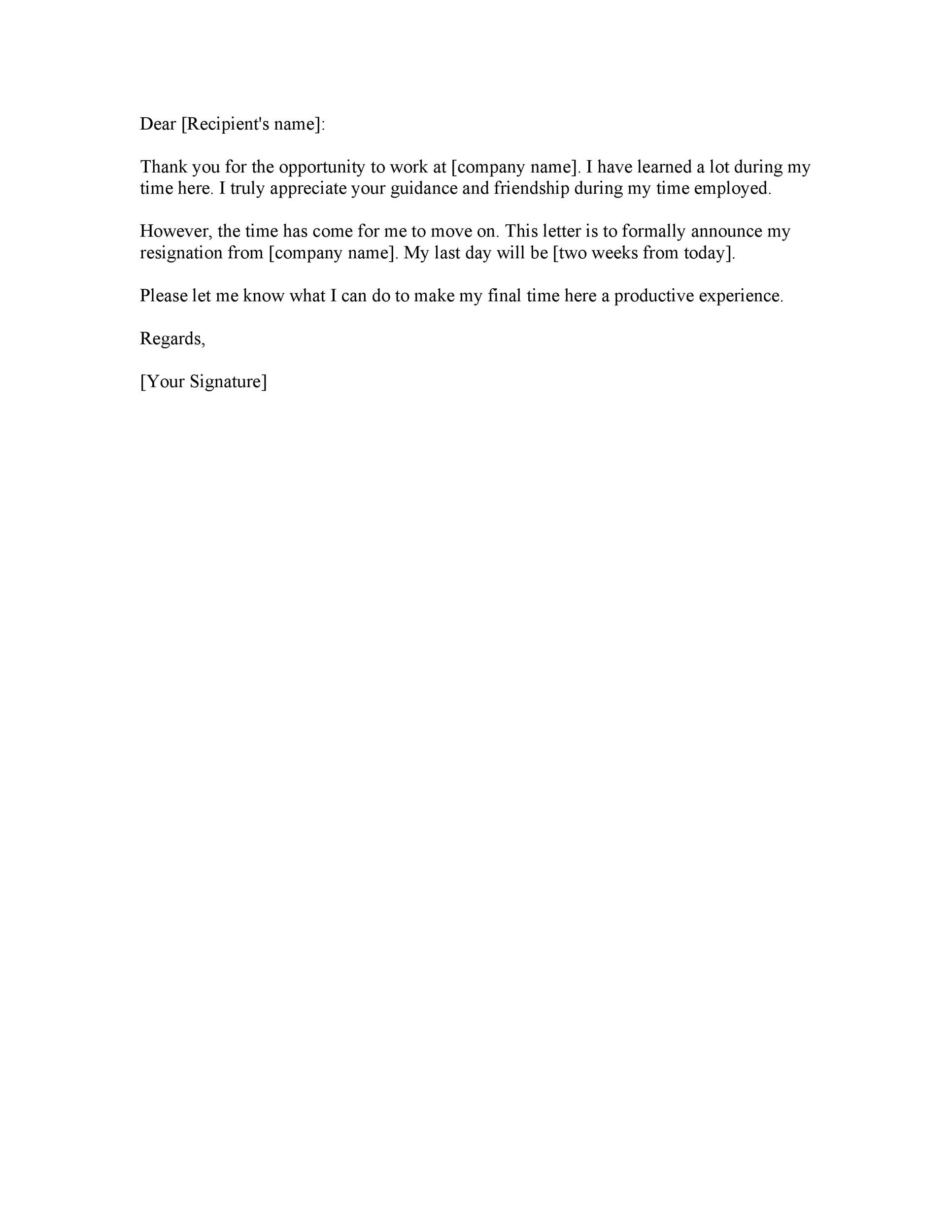 Simple Two Weeks Notice Letter from templatelab.com
