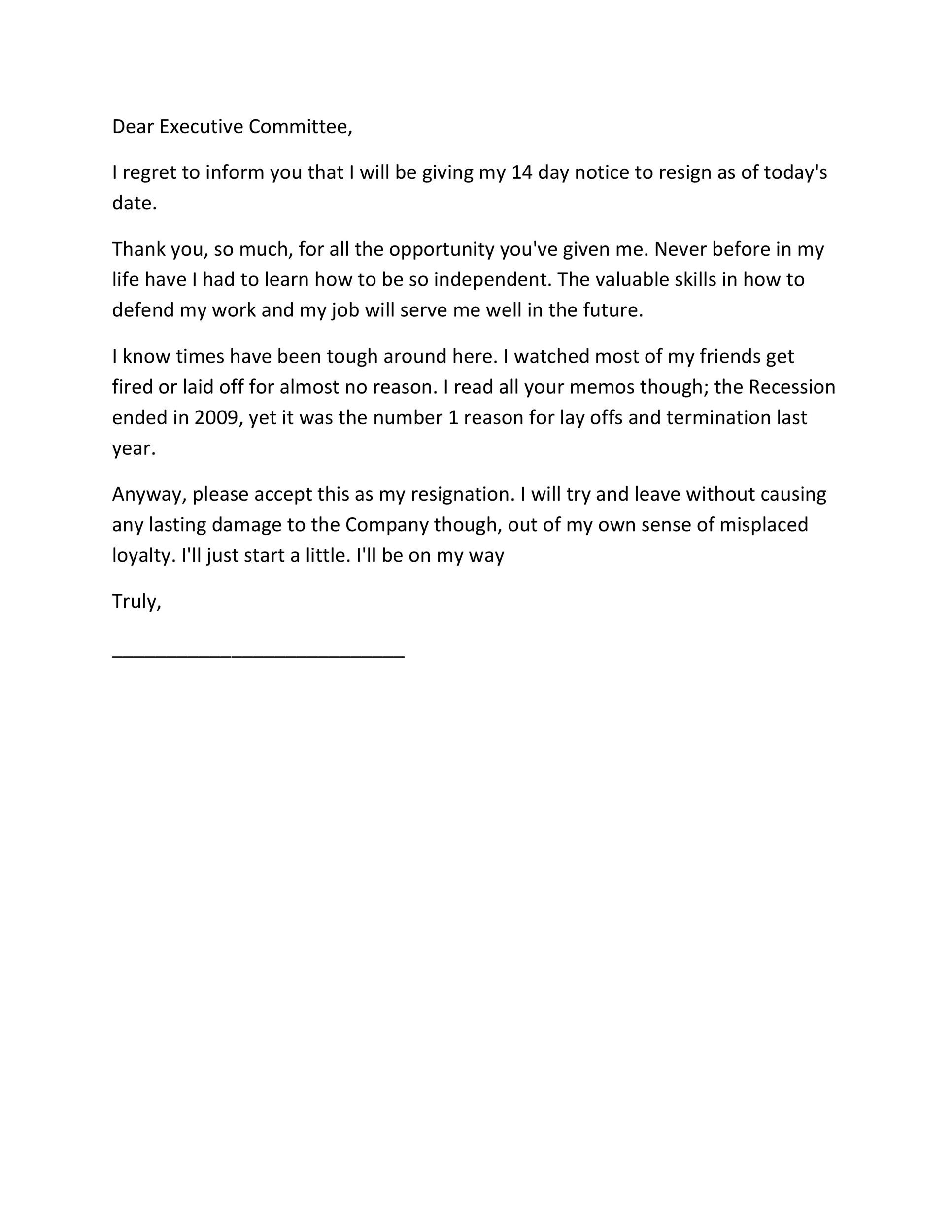 40 Two Weeks Notice Letters Resignation Letter Templates – Leave Templates