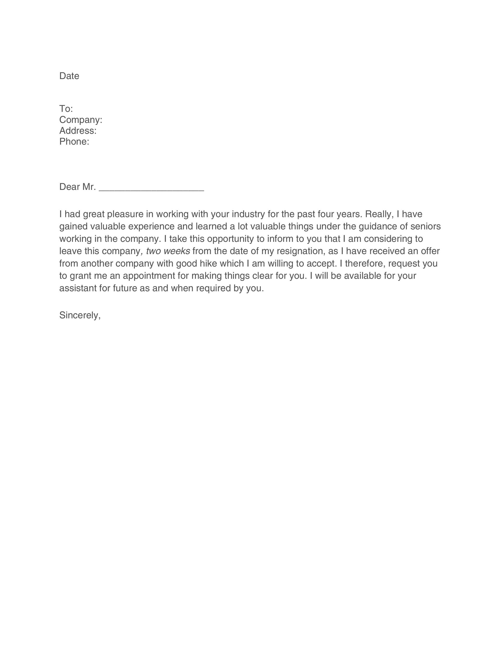 40 two weeks notice letters resignation letter templates free two weeks notice 40 expocarfo