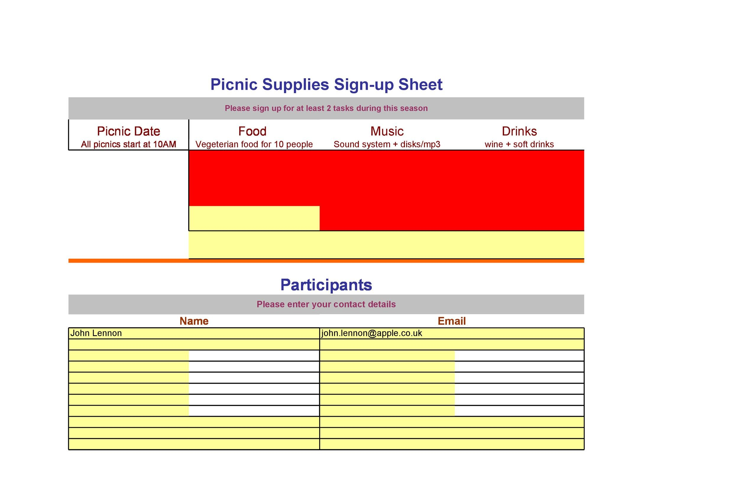 Free Sign-up Sheet Template 01