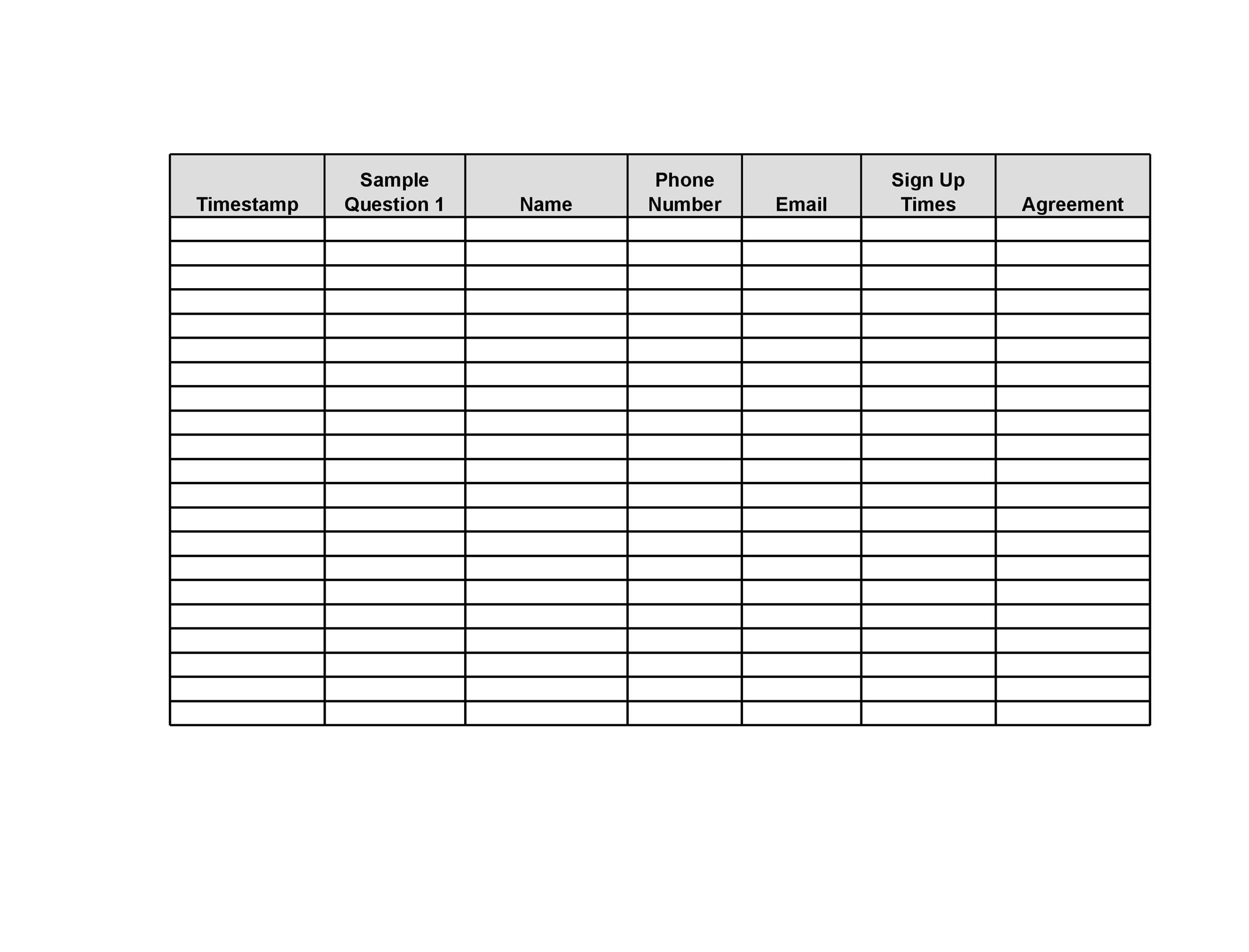 fundraising sign up sheet template