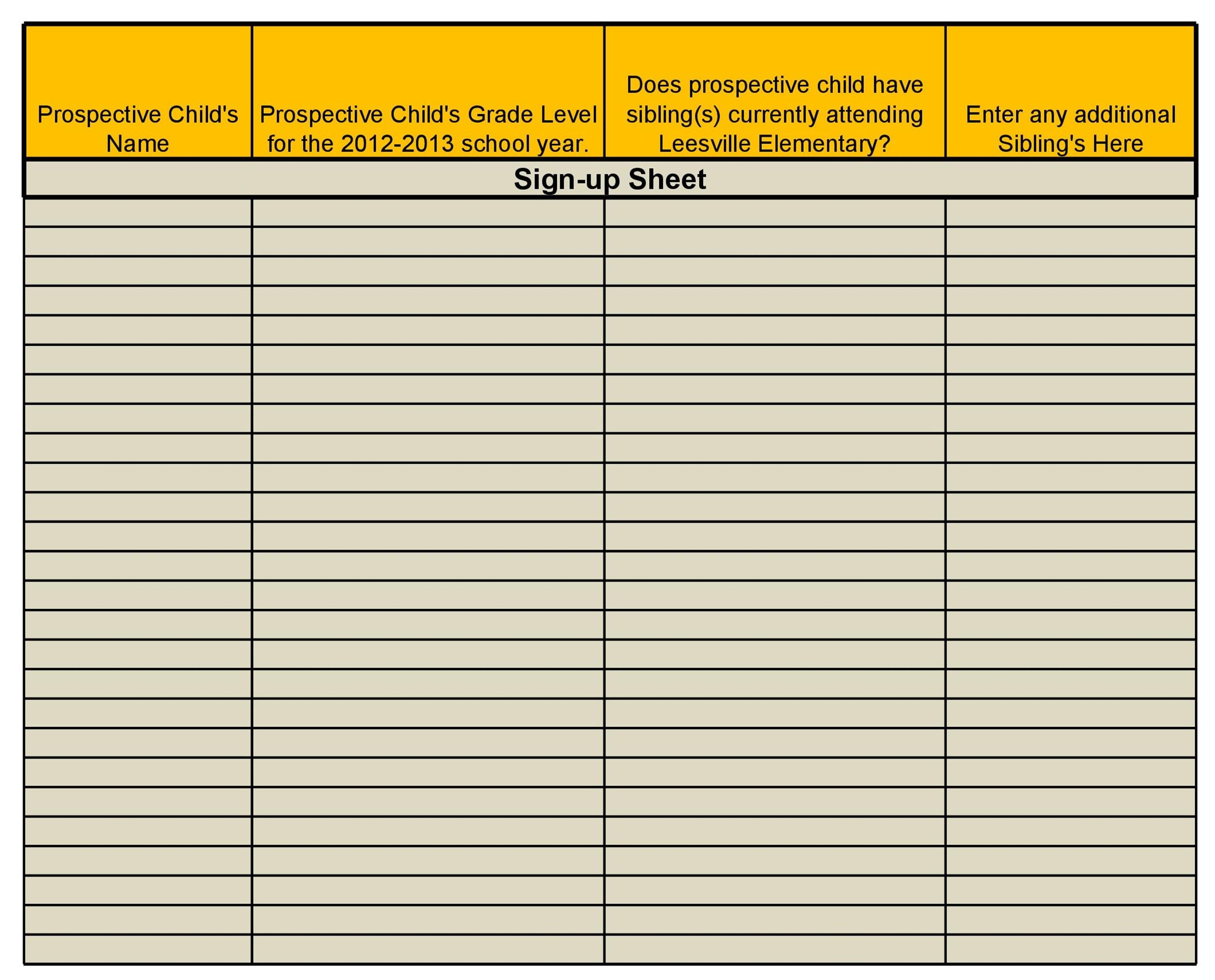 Sign Up Sheet  Sign In Sheet Templates Word  Excel