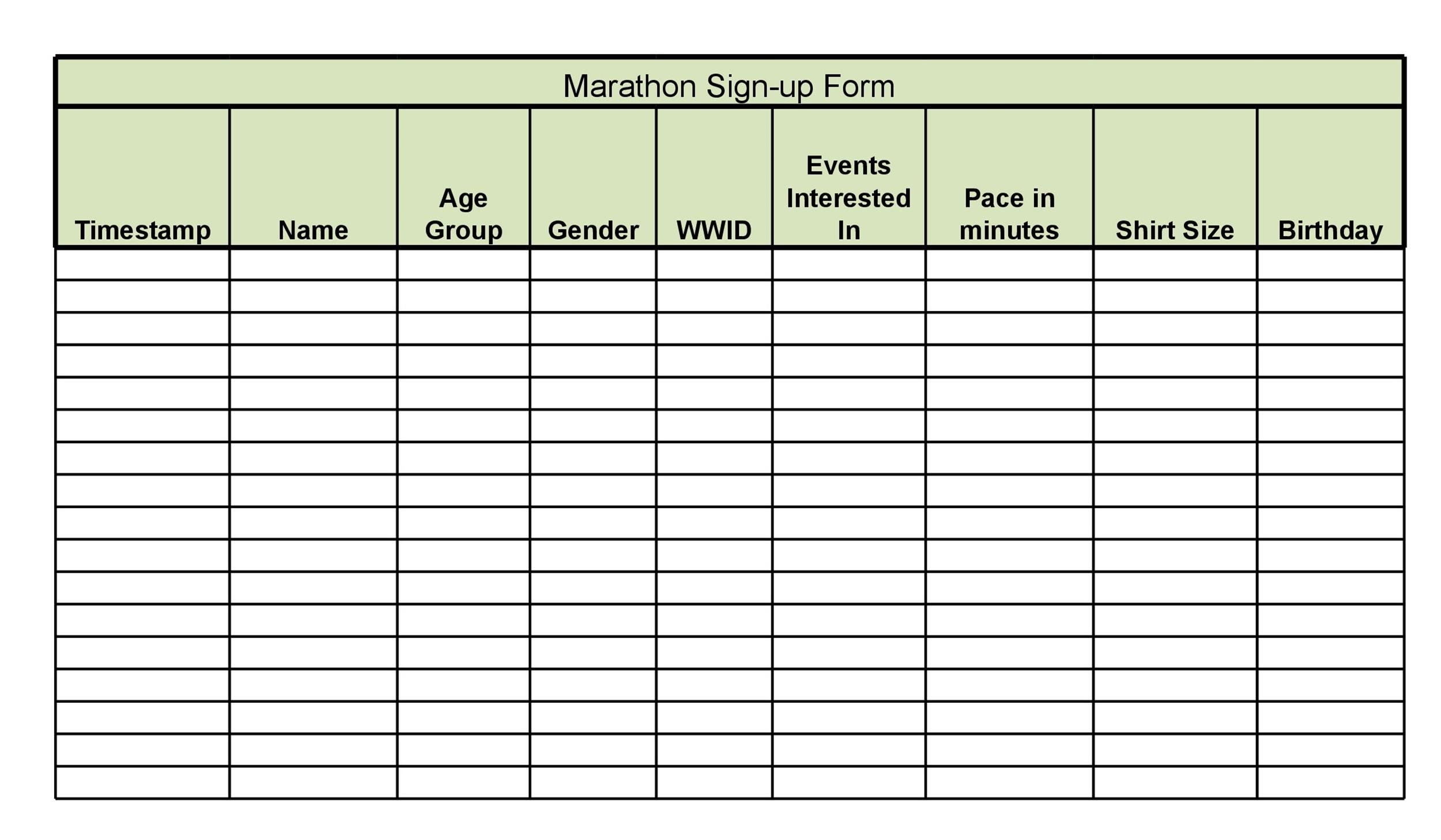 weekly sign in sheet template