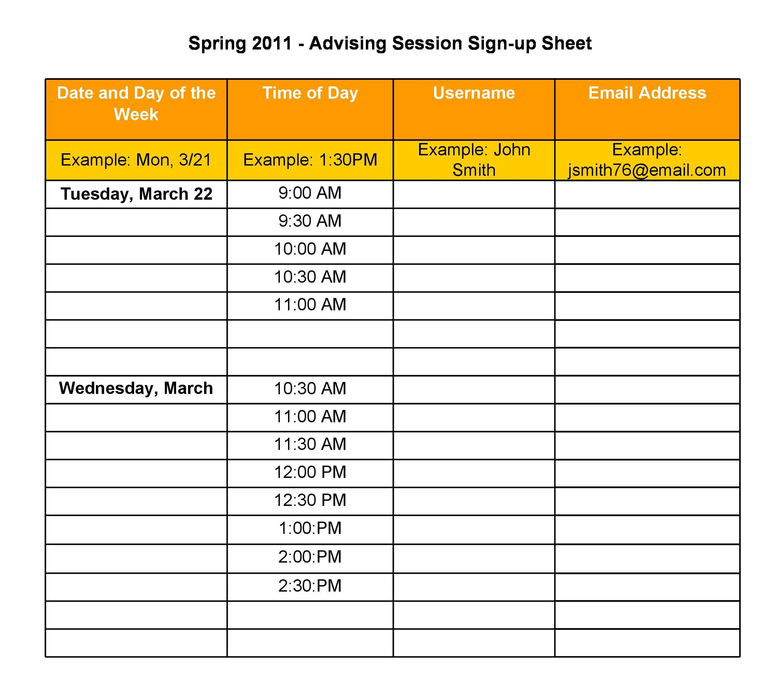 40 Sign Up Sheet Sign In Sheet Templates Word Excel – Excel Sign in Sheet Template