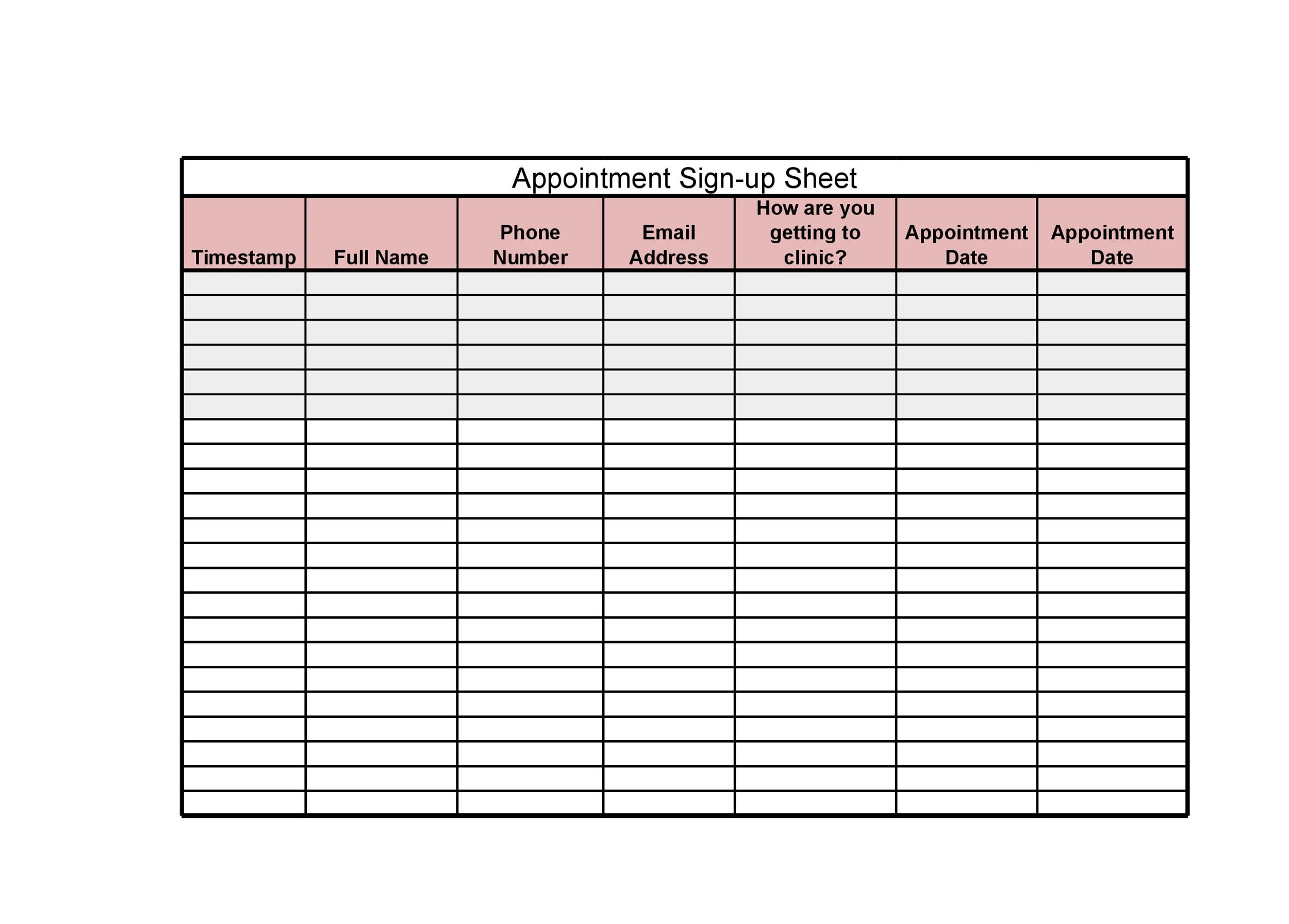 image relating to Printable Sign Up Sheet titled 40 Indicator Up Sheet / Signal Inside of Sheet Templates (Phrase Excel)