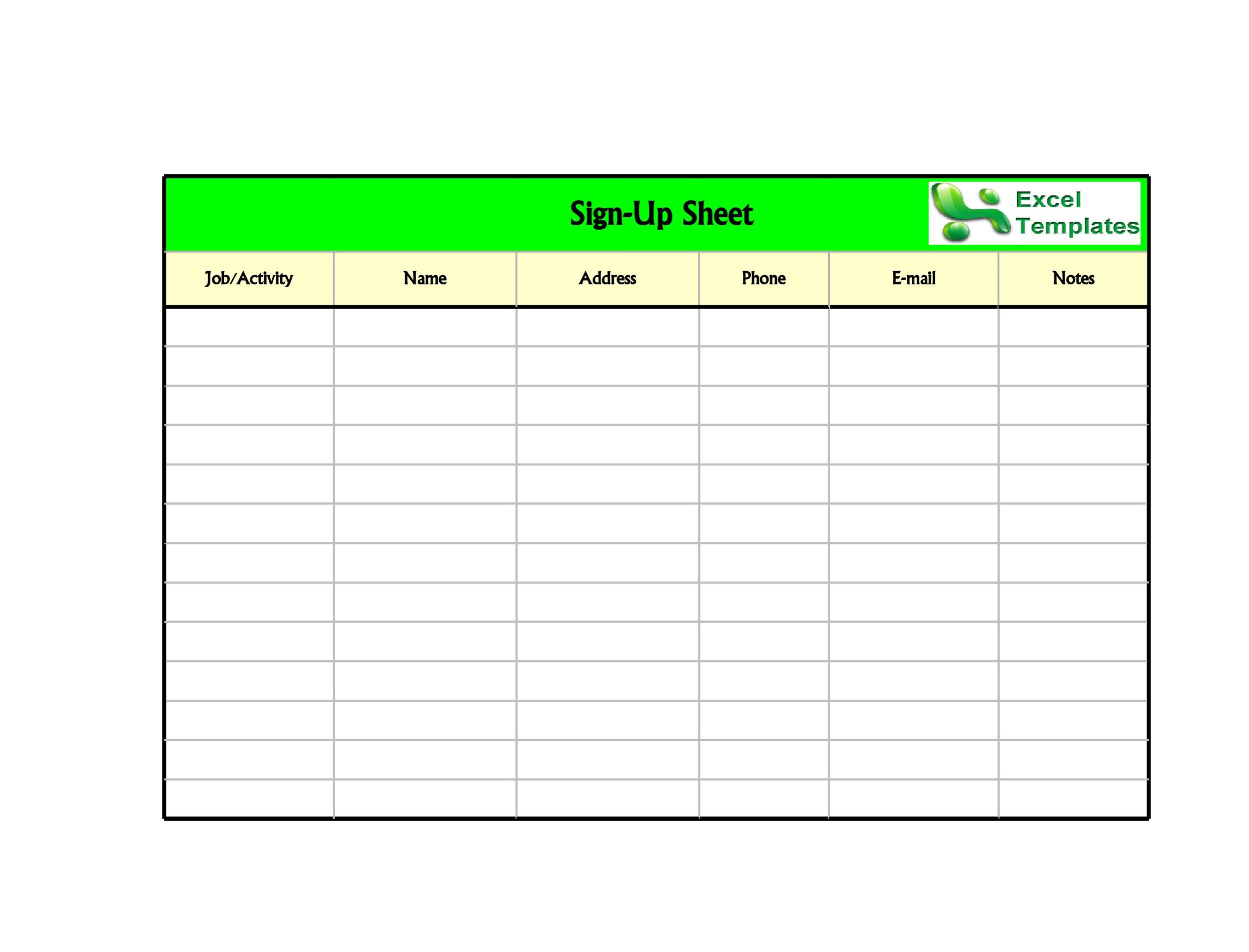 Free Sign-up Sheet Template 08