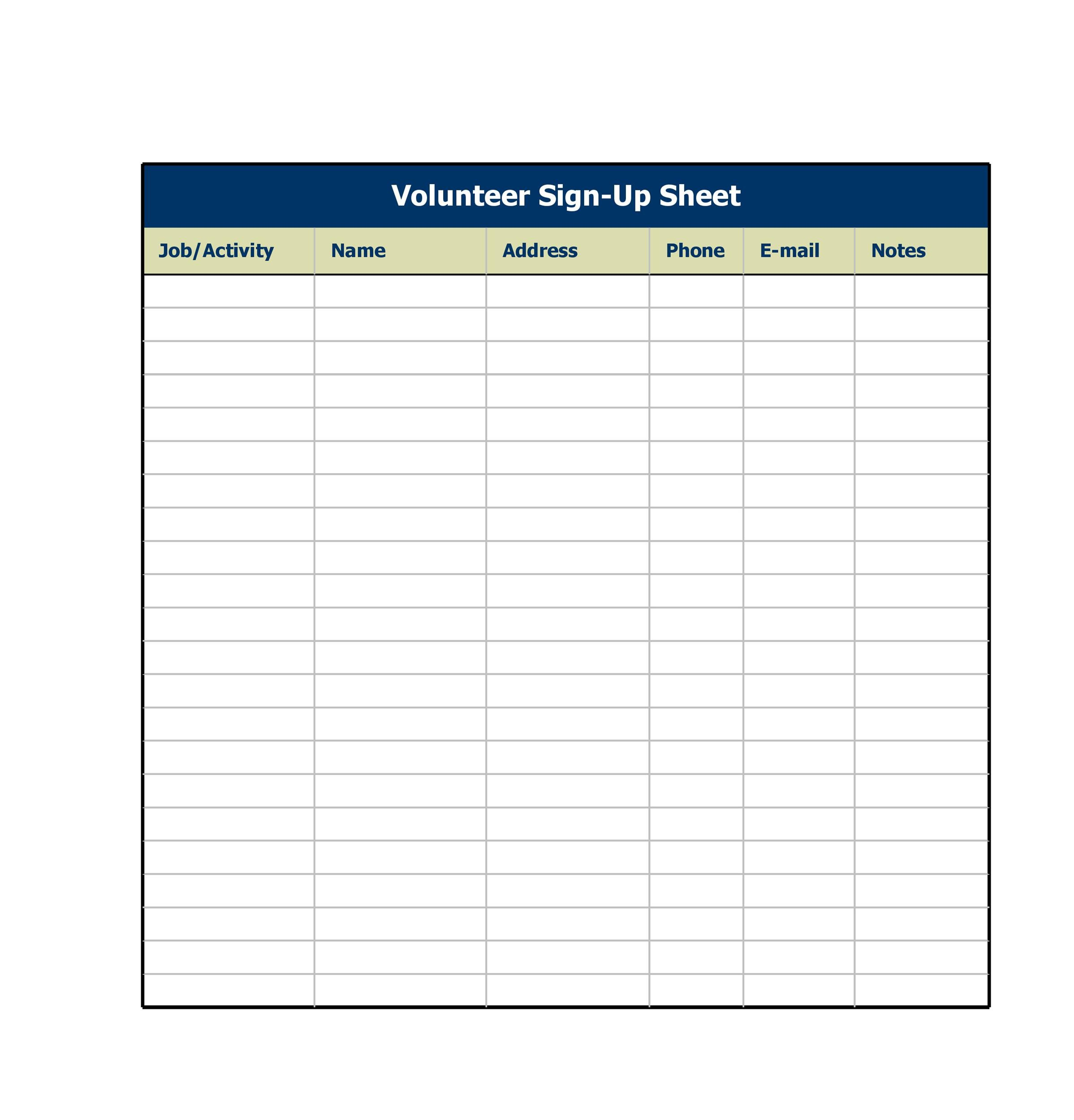Sign Up Sheet Sign In Sheet Templates Word Excel - Volunteer schedule template