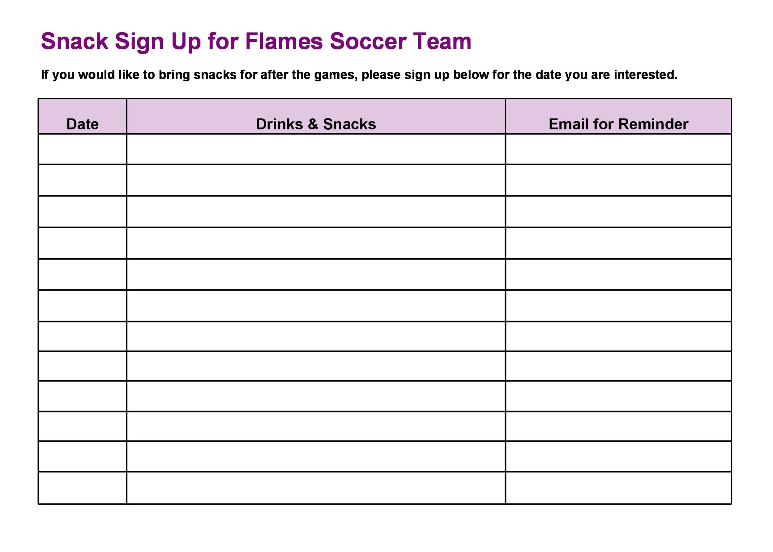 Sample Sign Up Sheet. 7+ Sign In Sheets Template | Procedure