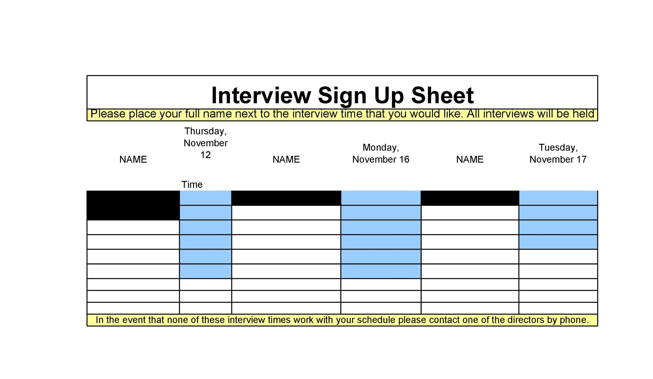 Printable Sign Up Sheet Template 25