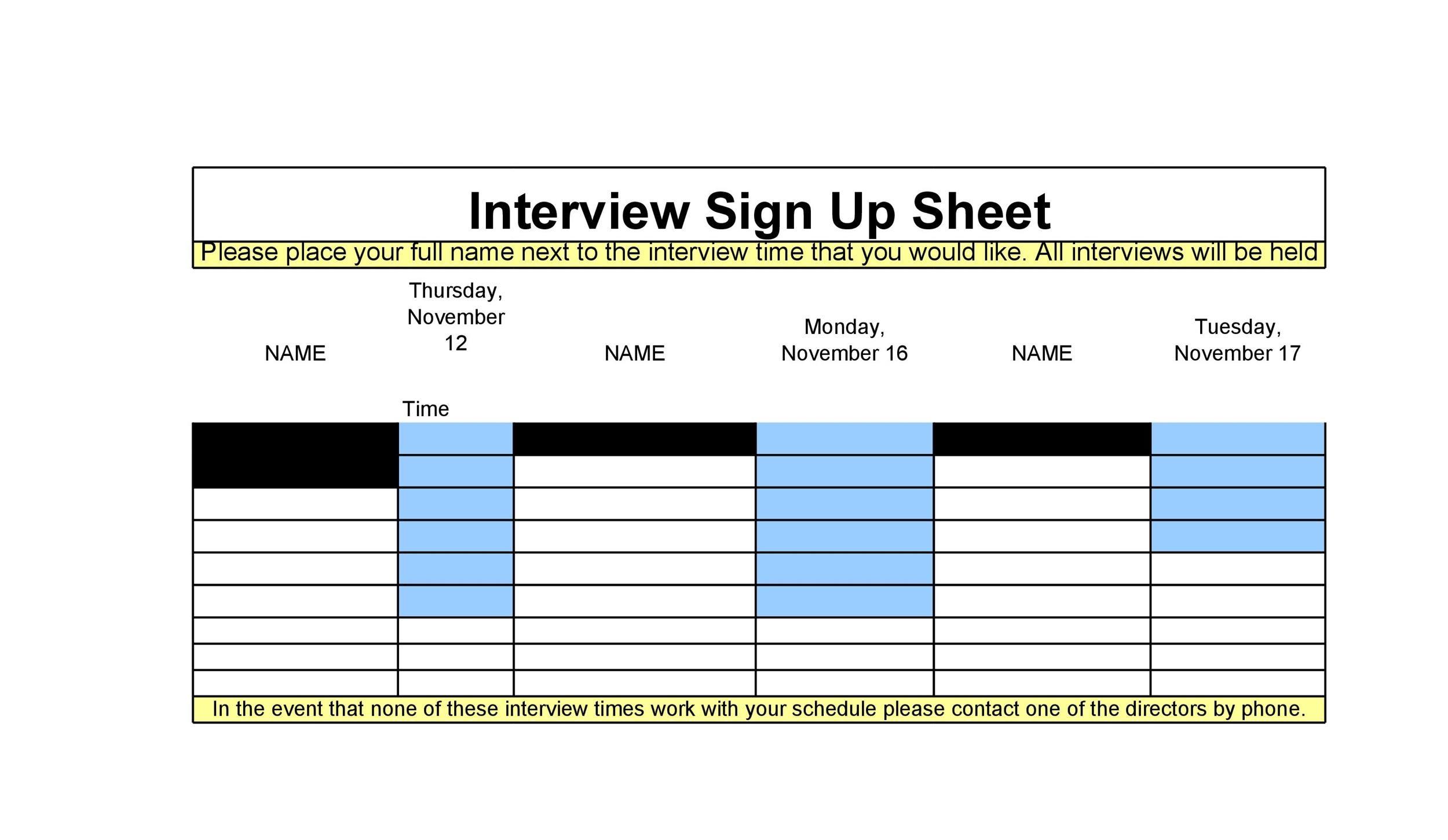 Sign-up Sheet Templates
