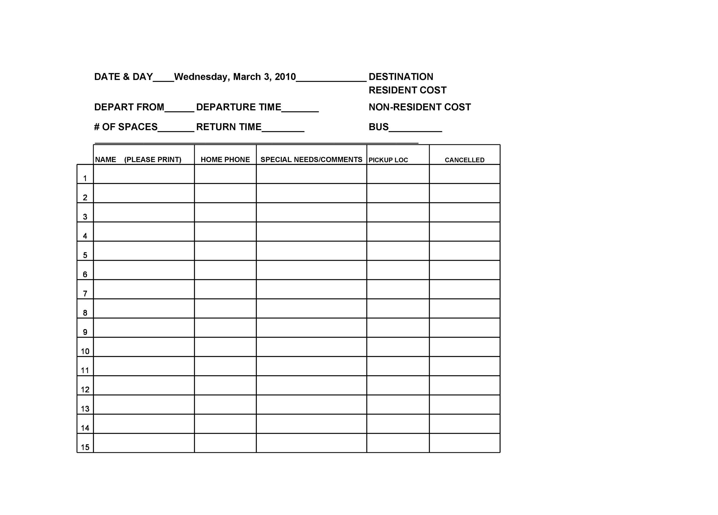 Free Sign-up Sheet Template  26
