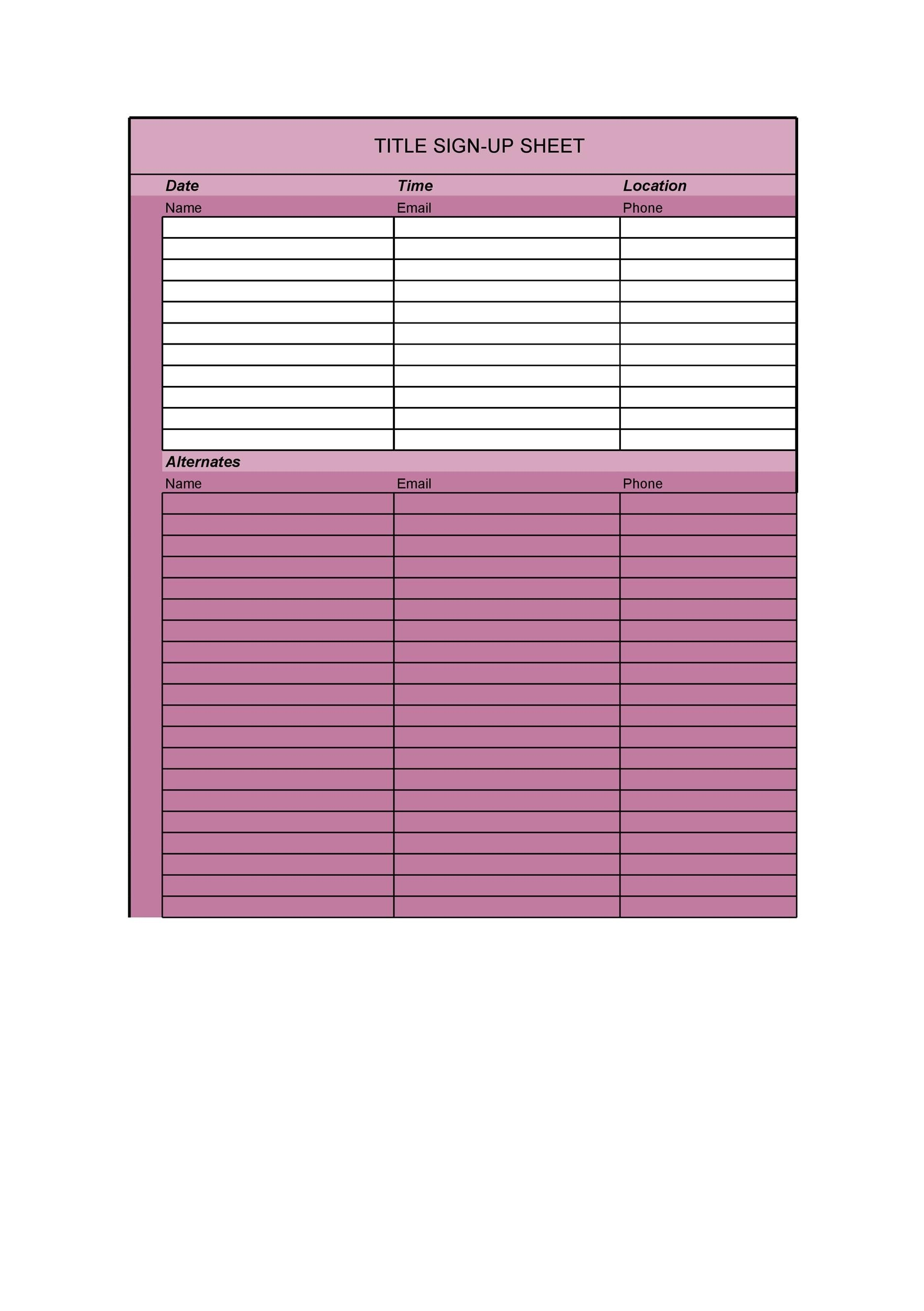 40 Sign Up Sheet Sign In Sheet Templates Word Excel – Signup Template