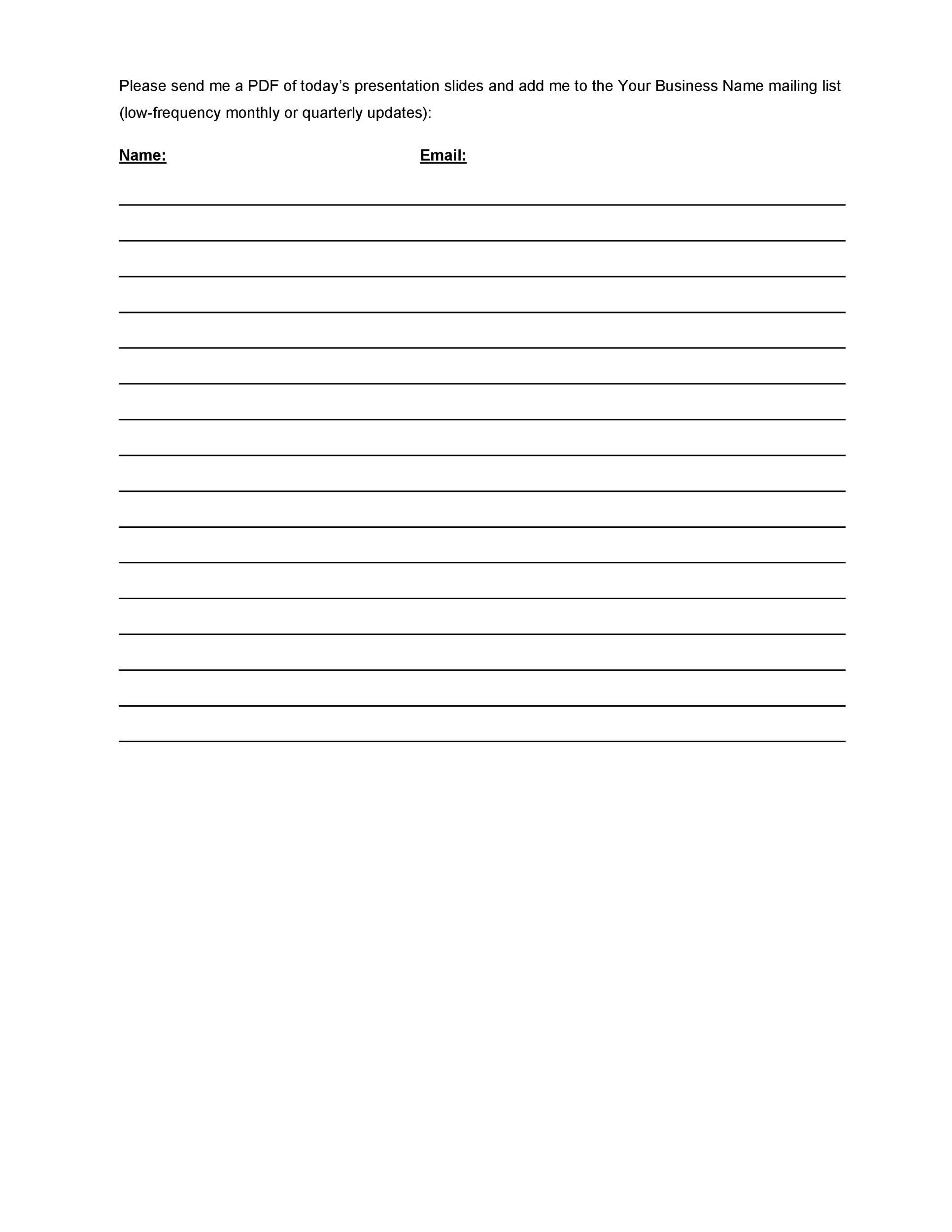 Free Sign-up Sheet Template  30