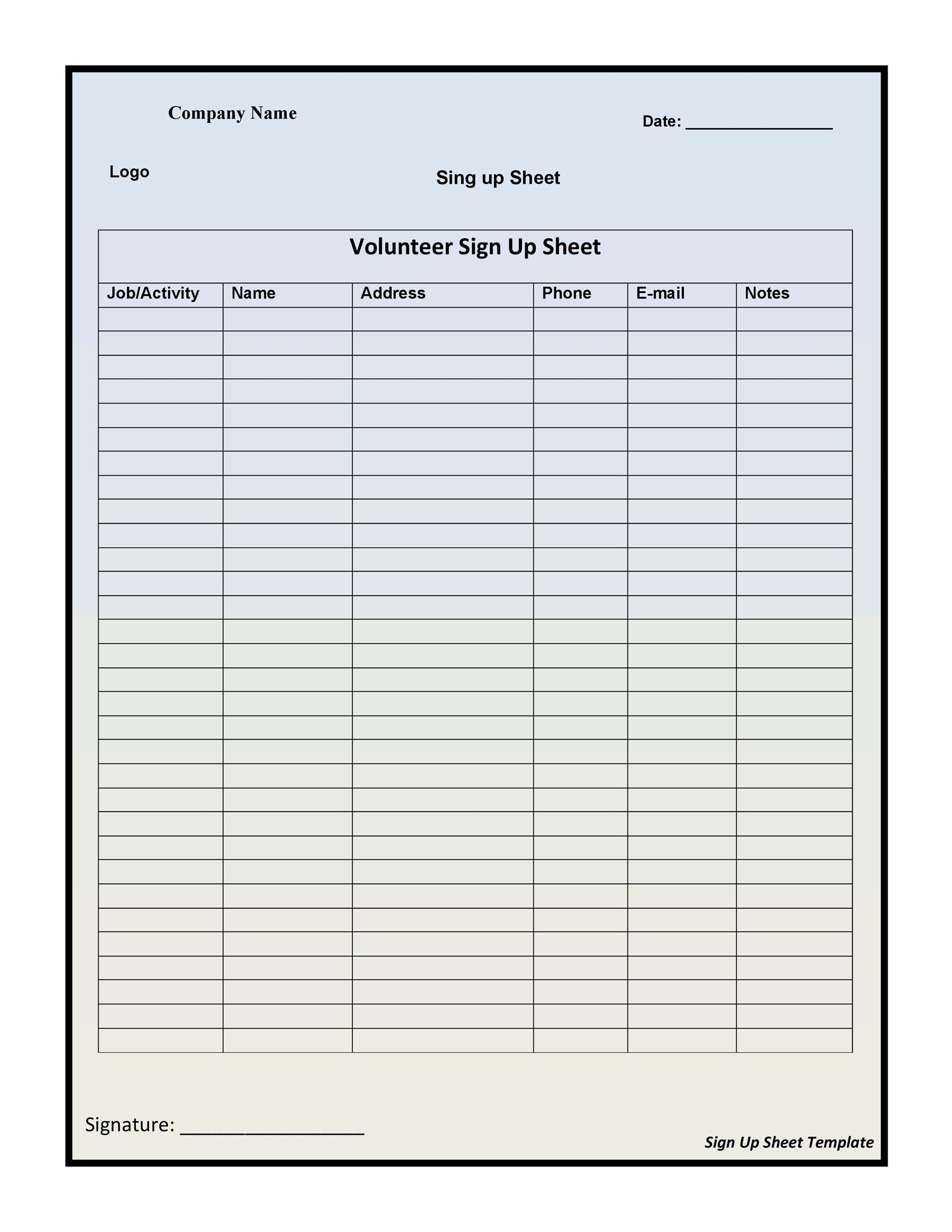 Printable Sign Up Sheet Template 33  Printable Sign Up Sheet Template