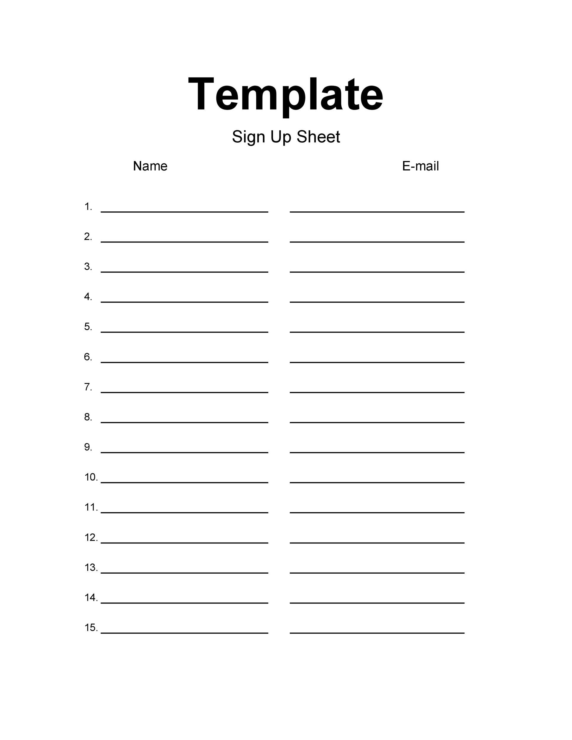 Printable Sign Up Sheet Template 36  How To Create A Signup Sheet