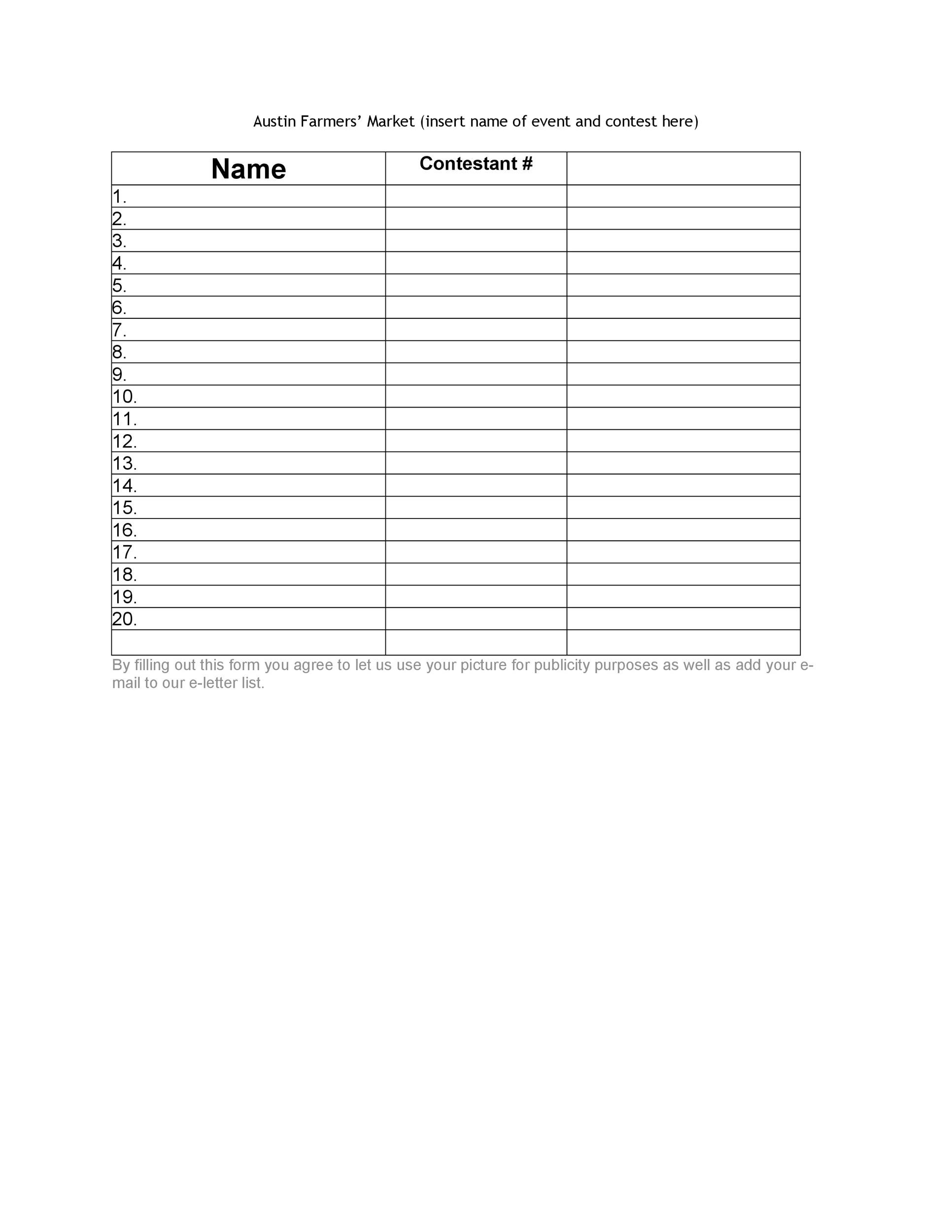 picture relating to Printable Sign Up Sheet titled 40 Indication Up Sheet / Indication In just Sheet Templates (Phrase Excel)