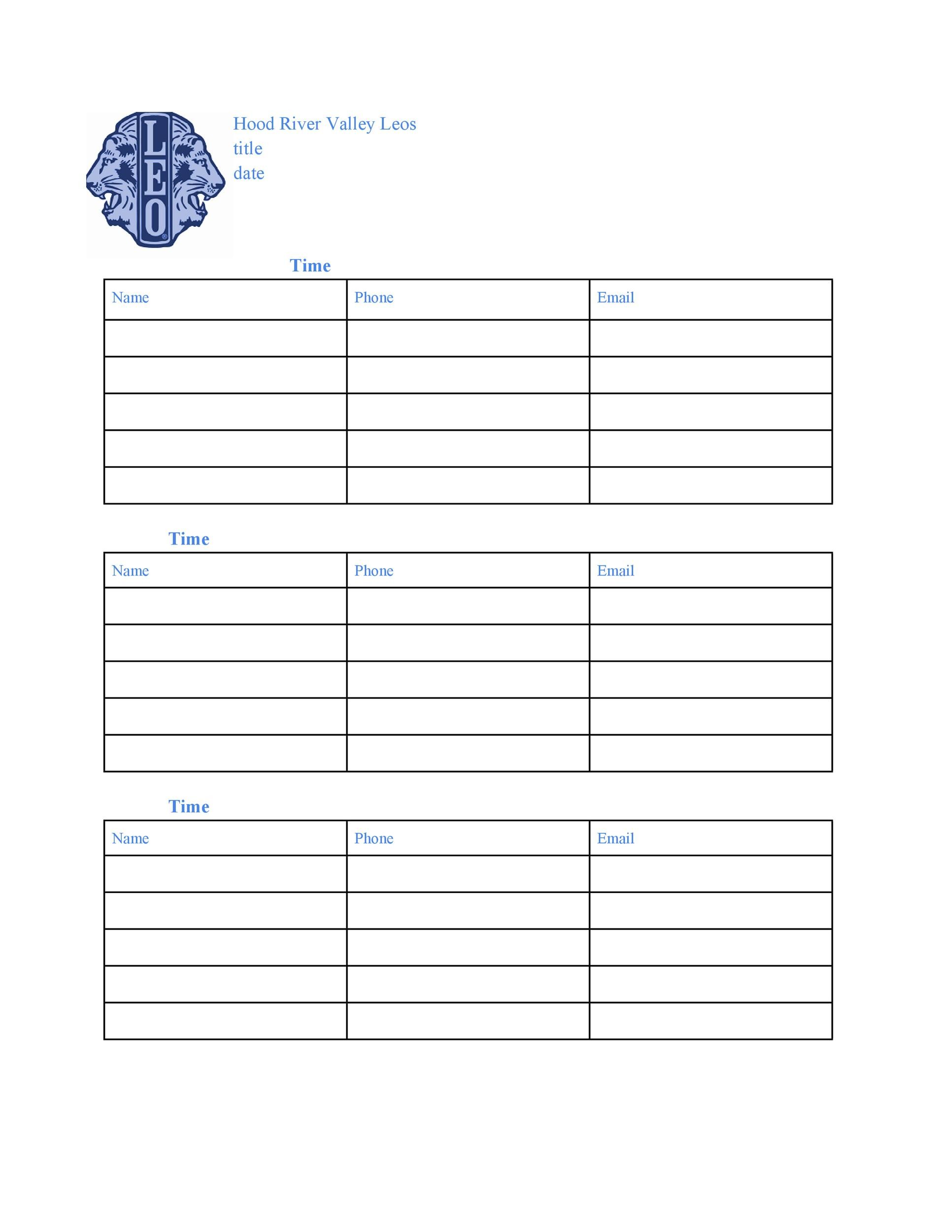 Free Sign-up Sheet Template  39