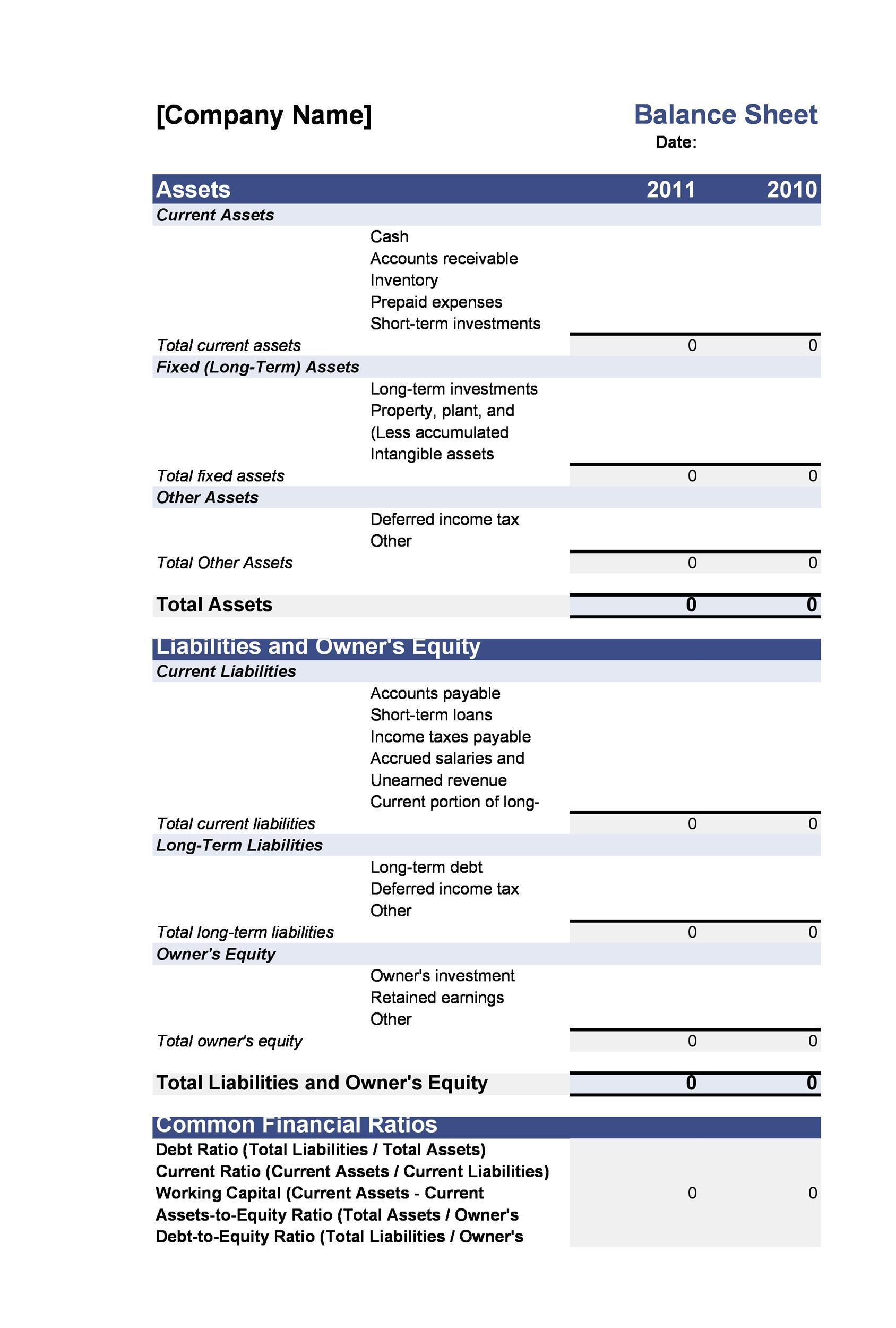 Free Balance Sheet Template 01