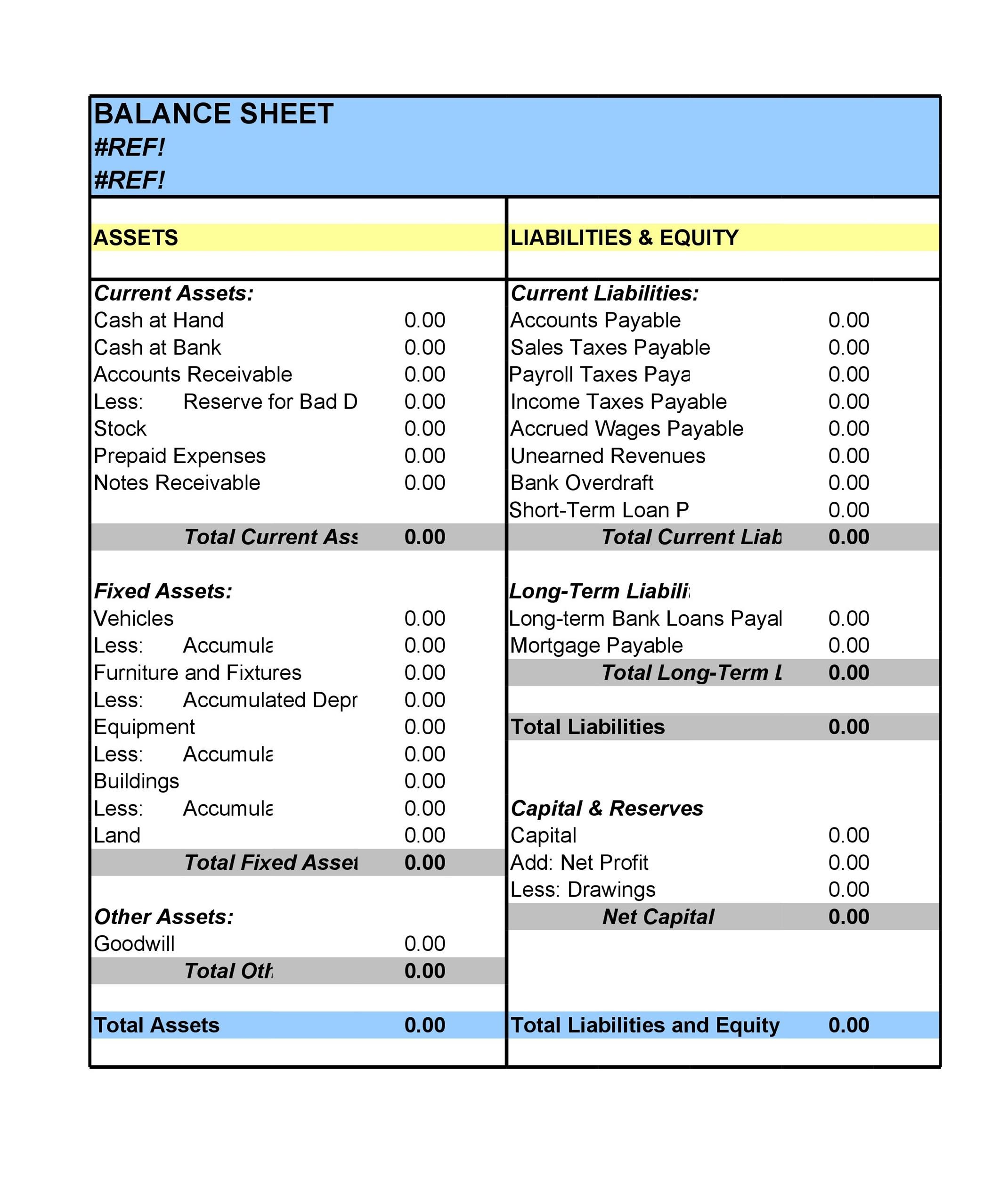 Free Balance Sheet Template 02