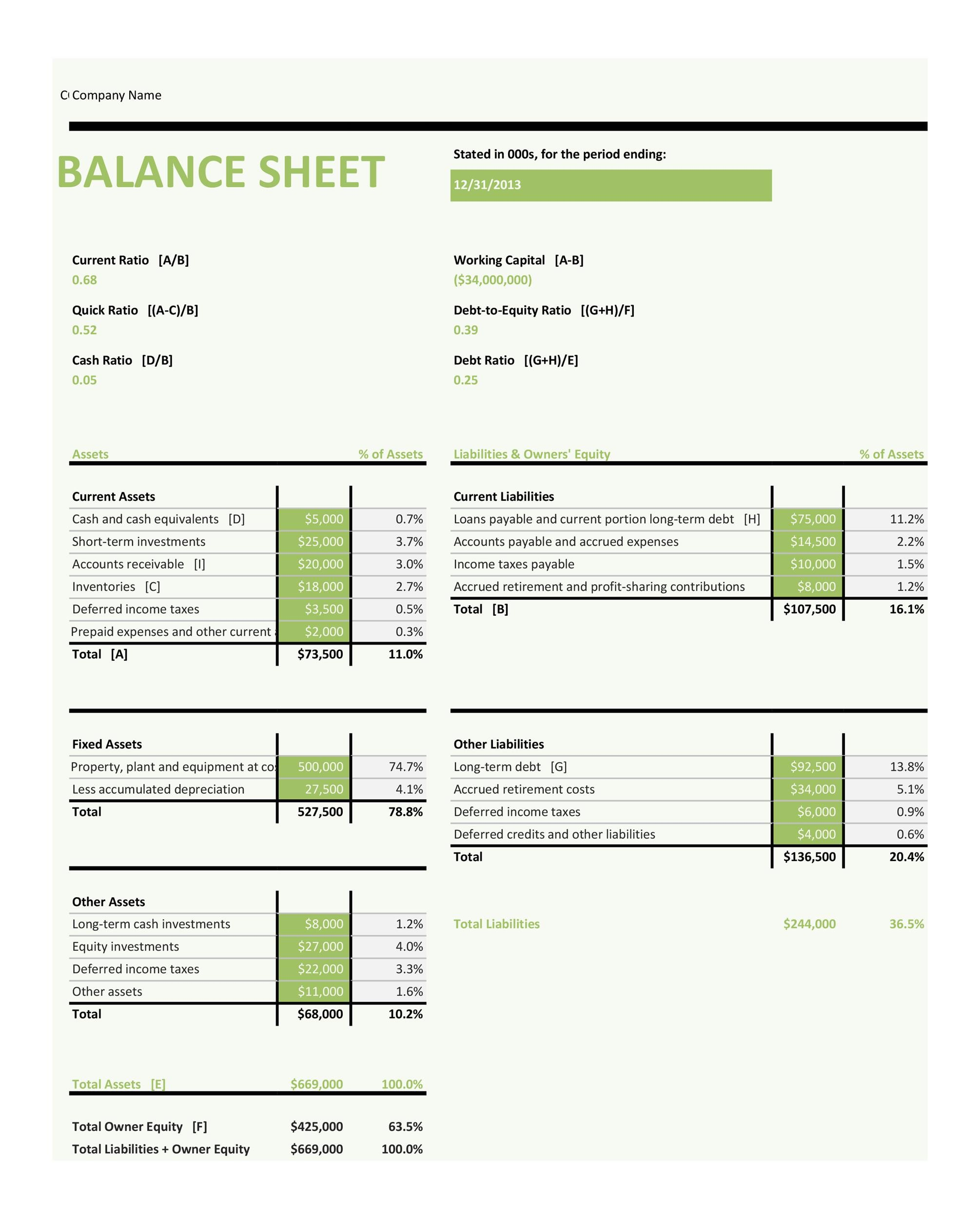 easy balance sheet template