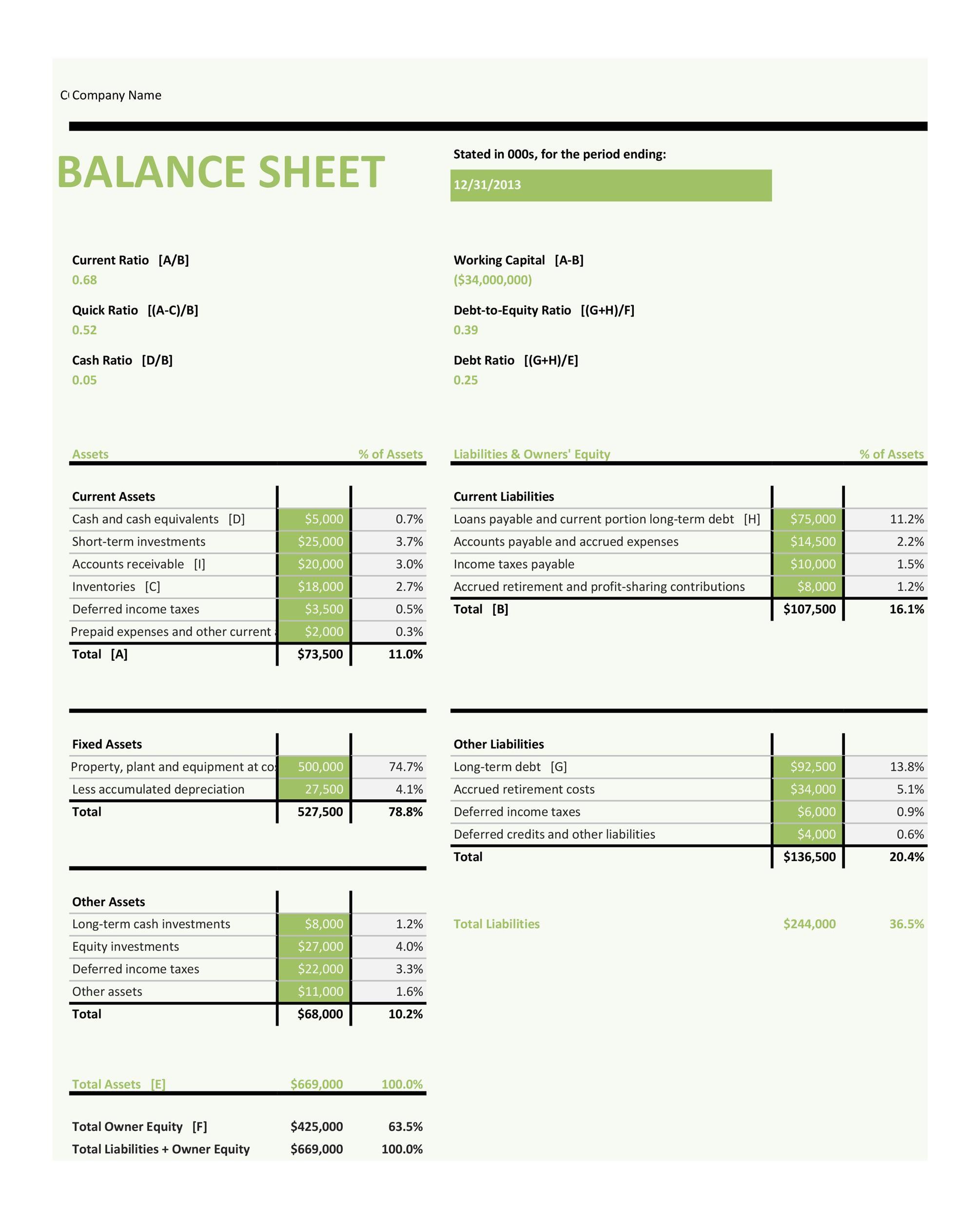 Free Balance Sheet Template 03