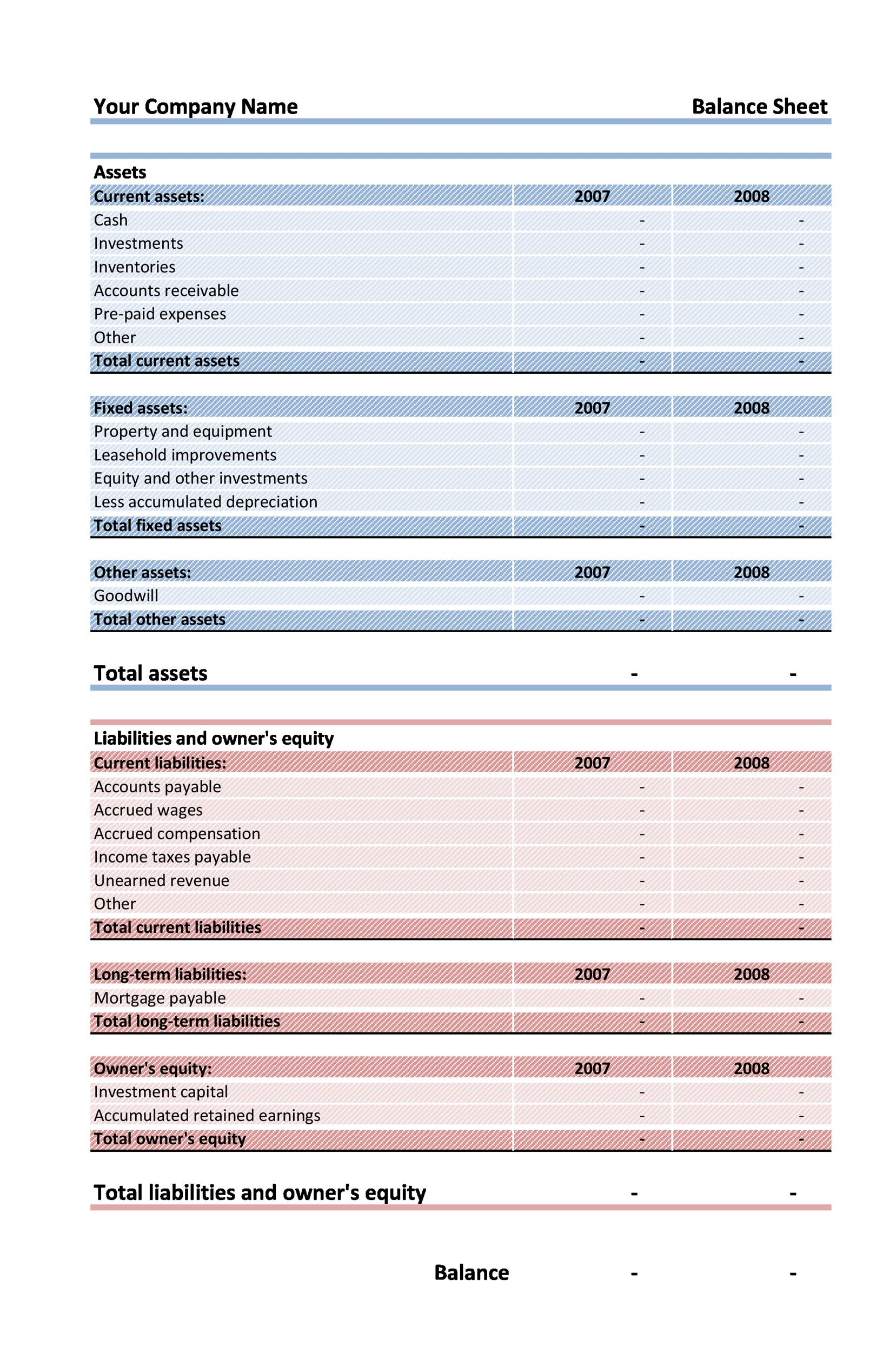 Printable Balance Sheet Template 06  Free Printable Balance Sheet Template