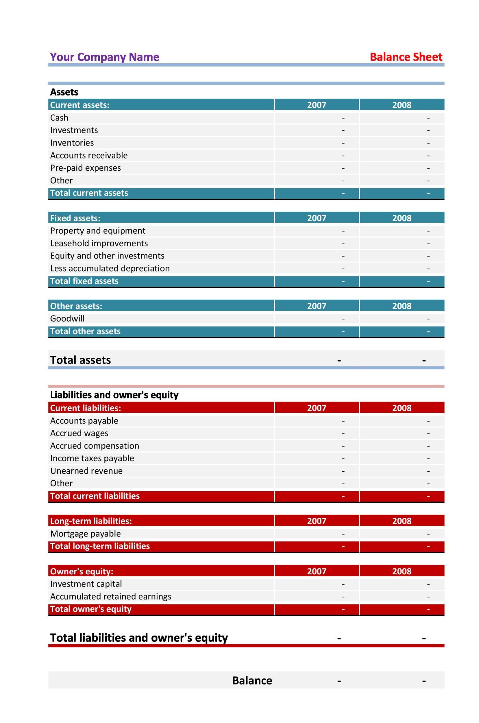 Free Balance Sheet Template 07