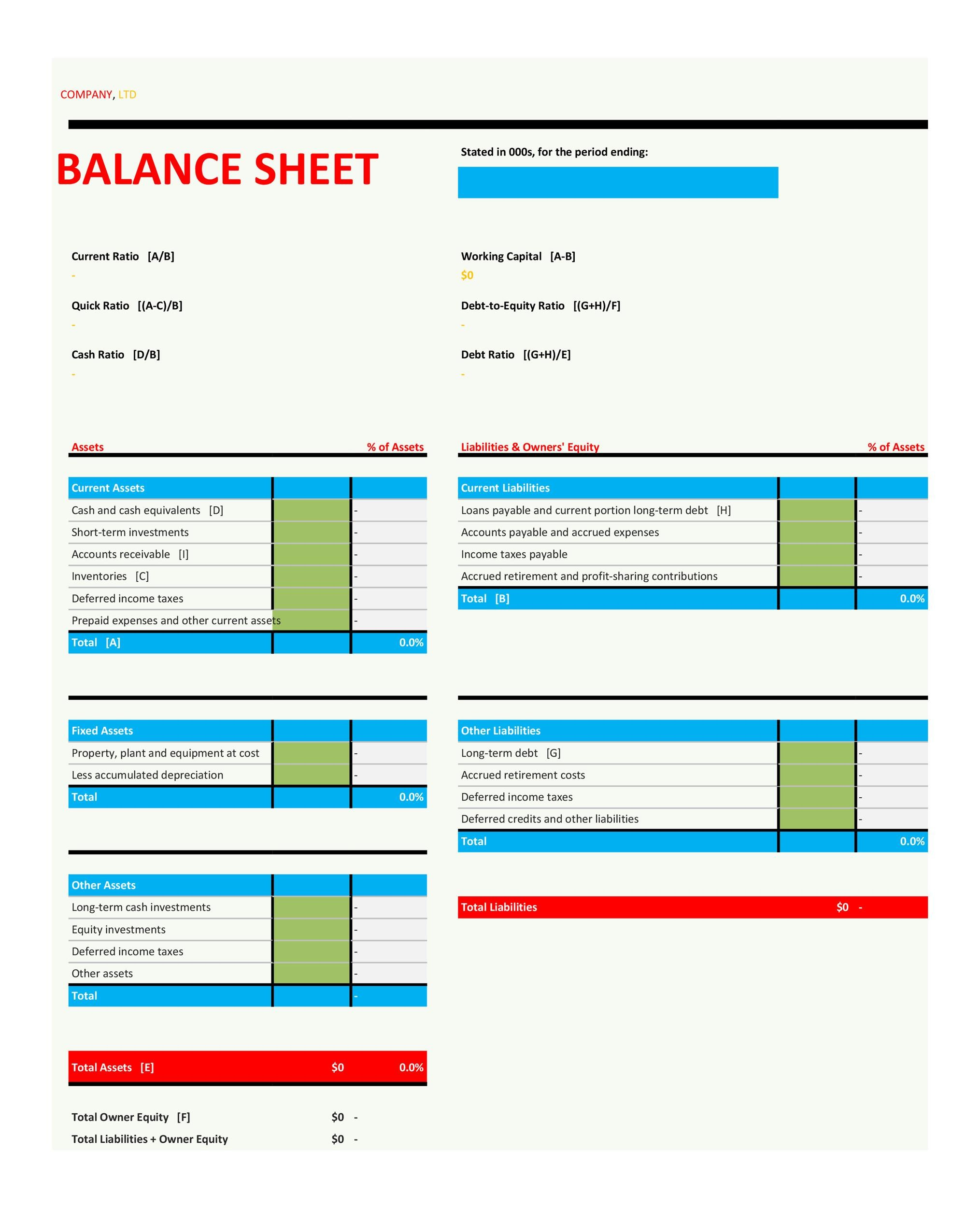 Free Balance Sheet Template 08
