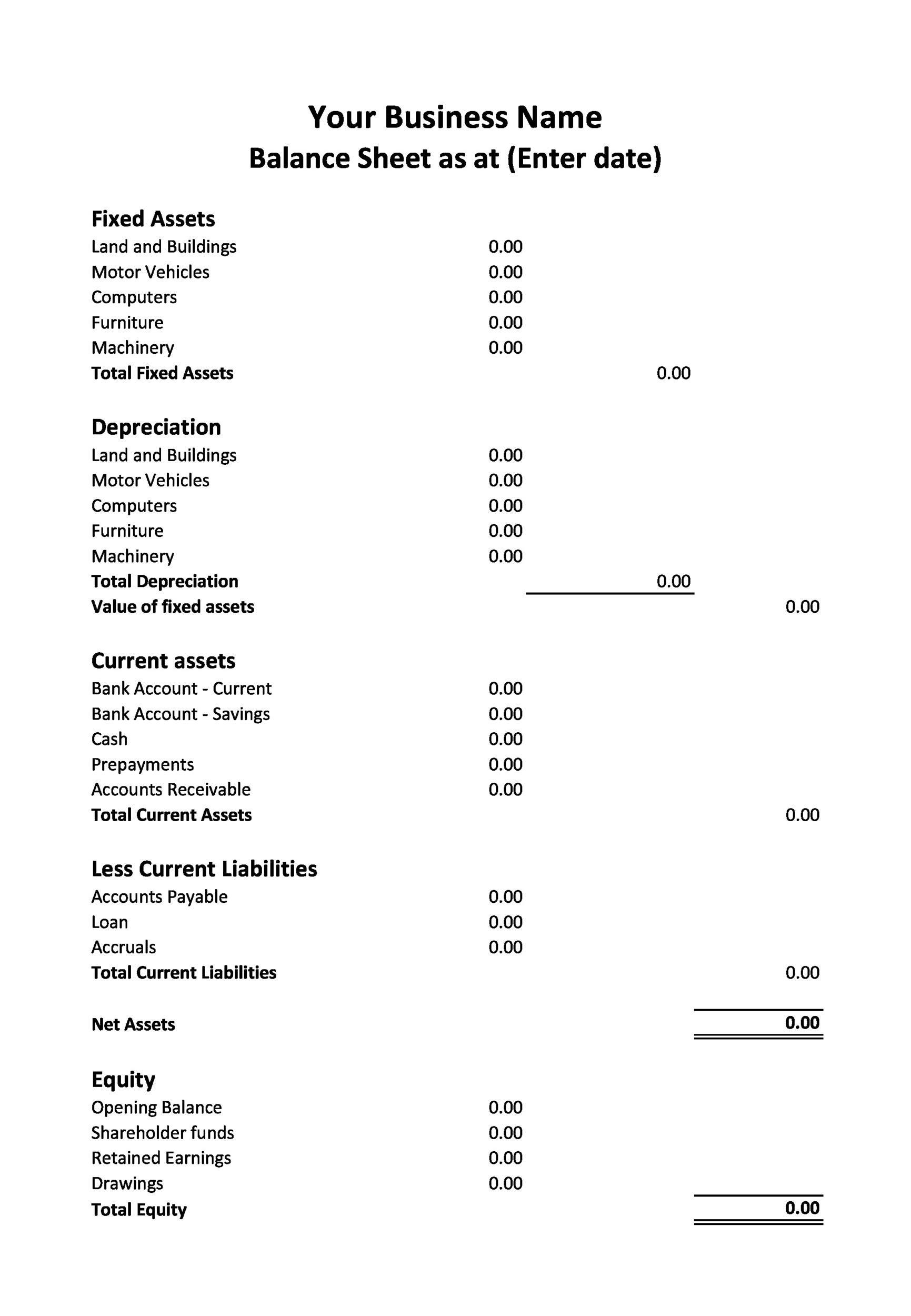 Free Balance Sheet Template 14