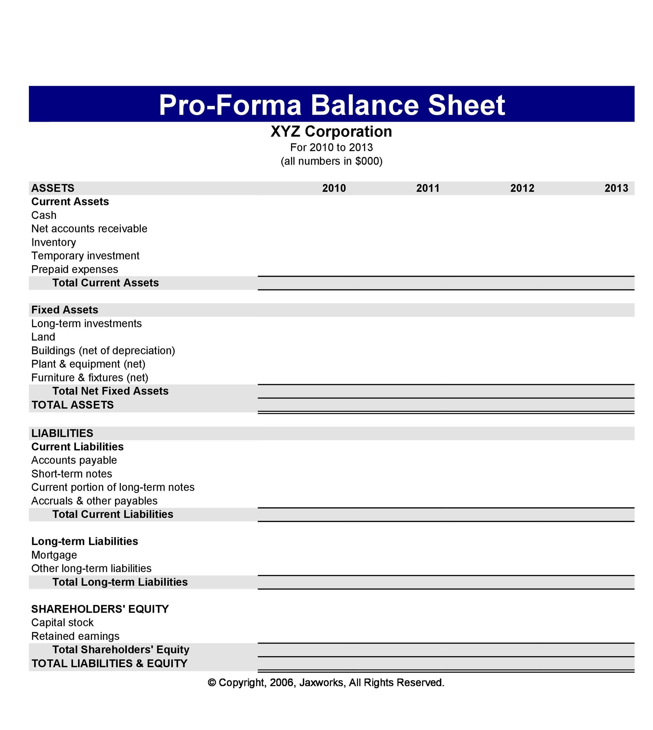Free Balance Sheet Template 15