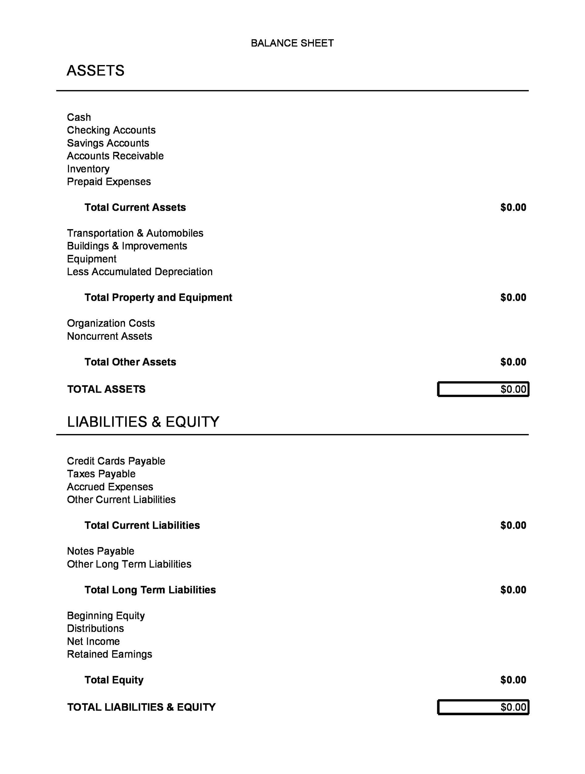 Printable Balance Sheet Template 21  Free Printable Balance Sheet Template